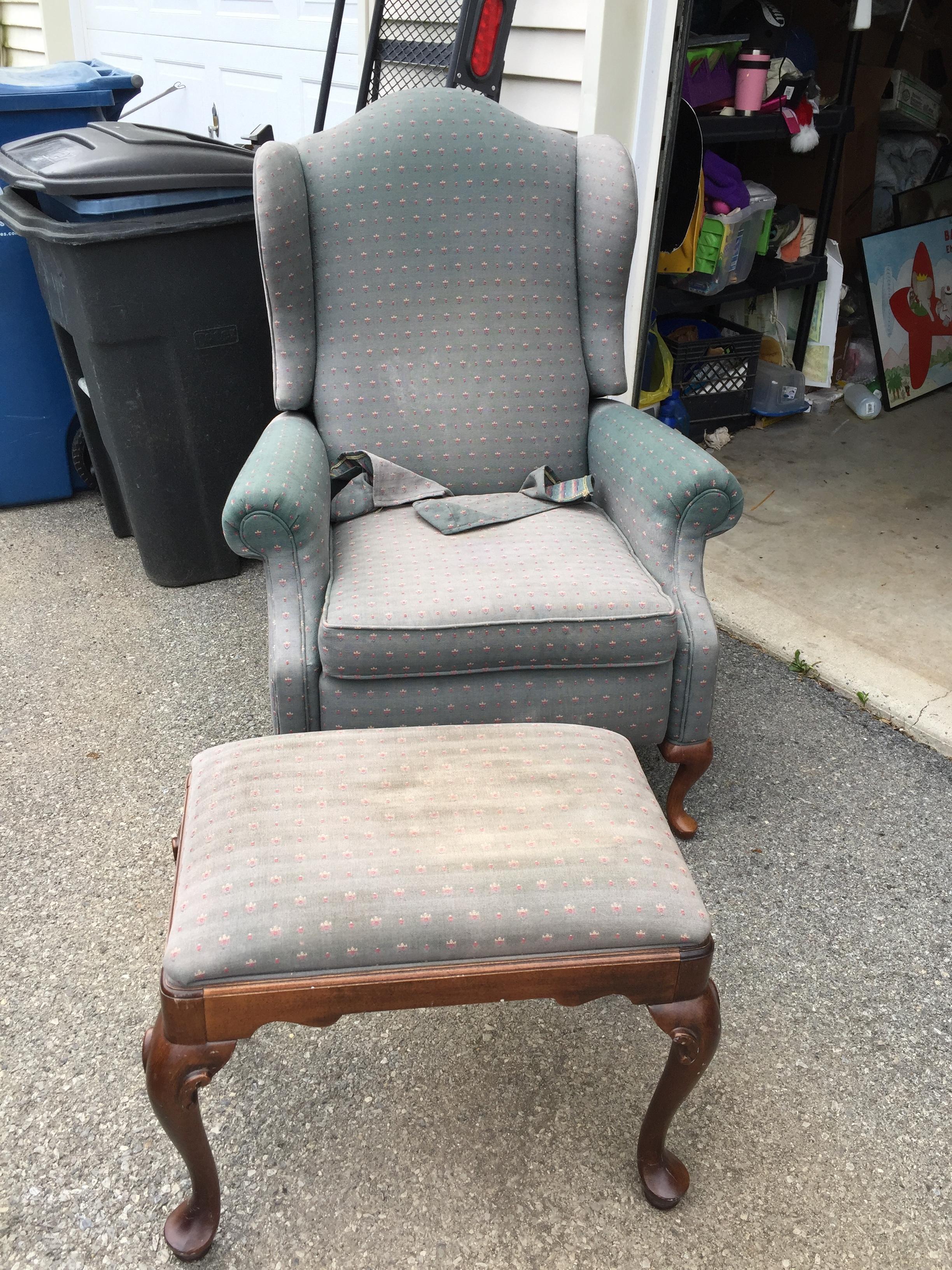 Ethan Allen reclining wingback at matching ottoman.  Very dirty with possible sun fade but appears to be structurally sound.  $50 for the set!