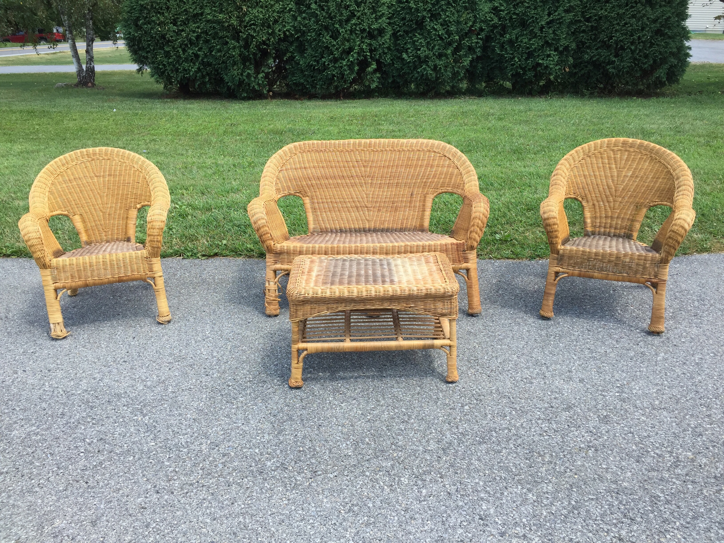 Great wicKer set. All wood/reed construction perfect for a sun porch, den, florida room and more. Can be painted If you'd like. Use with or without cushions. I sUspect you may be able to find pre made to fit or Use the ORIGINALS as a pattern to diy. This set can be split! Let's talk anout it. Price tbd.