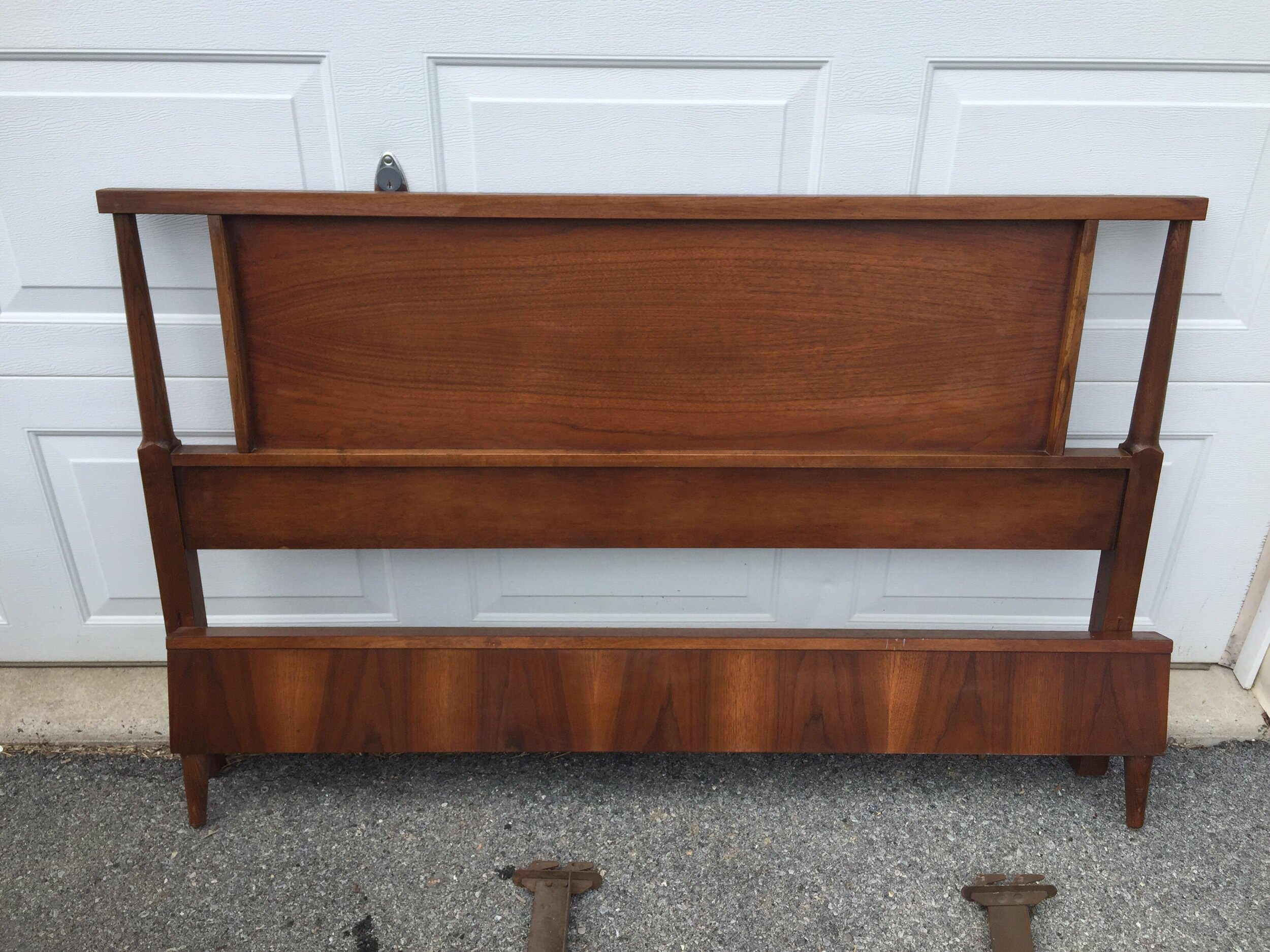 Walnut fUll bed. Can be modified easily for queen. Has headboard, footBoard and i do have the side rails. Will be cheaper to ship without buy that is up to you. This one just listed on etsy and coming to chairish.