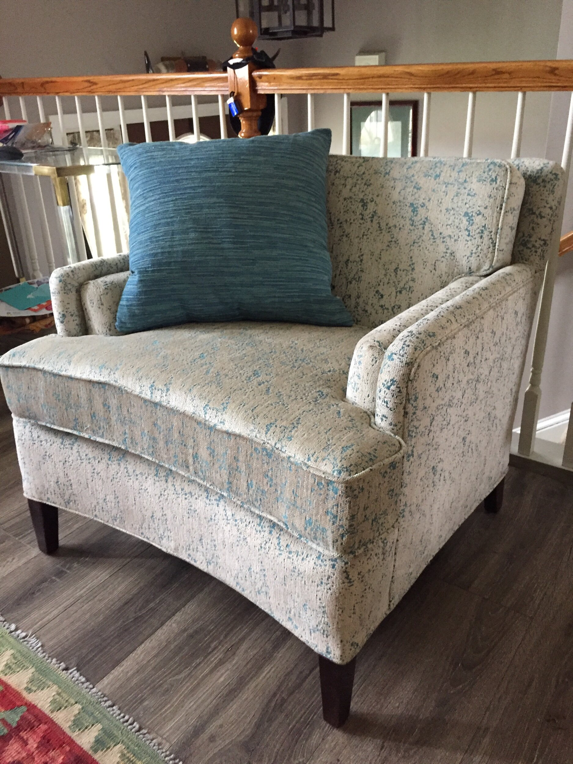 Rebuilt with new foam, new seat cushion and new fabulous upholstery! Mid century gone modern. Very much in love wity my latest restoration!