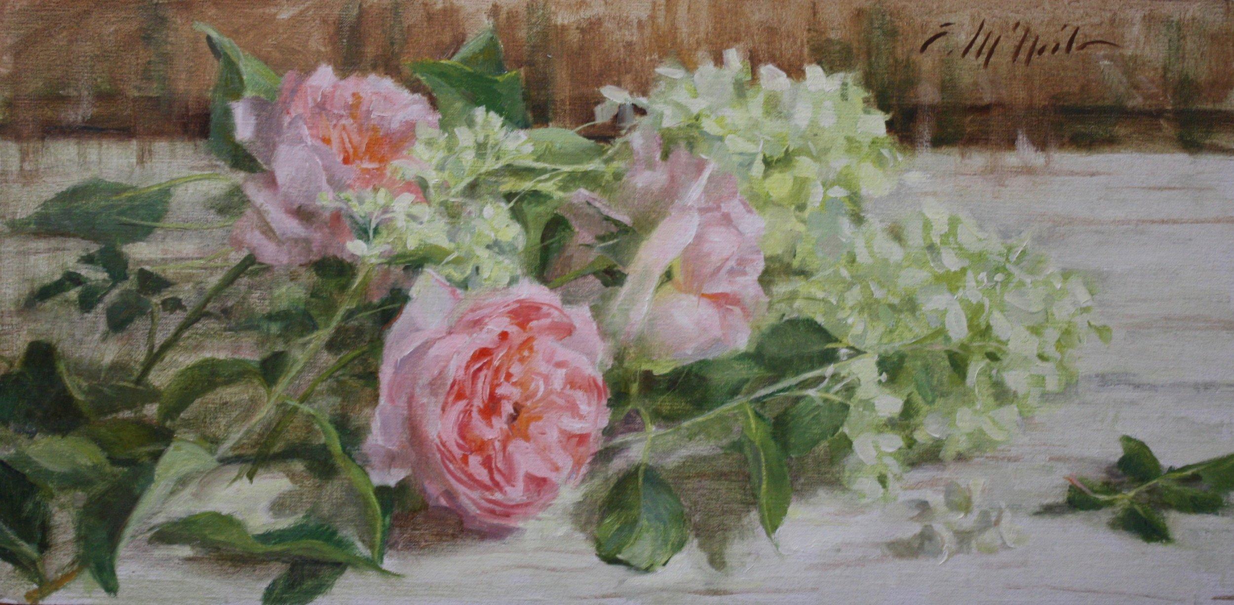"""Roses and Hydrangeas"" 8x16.5 $480"