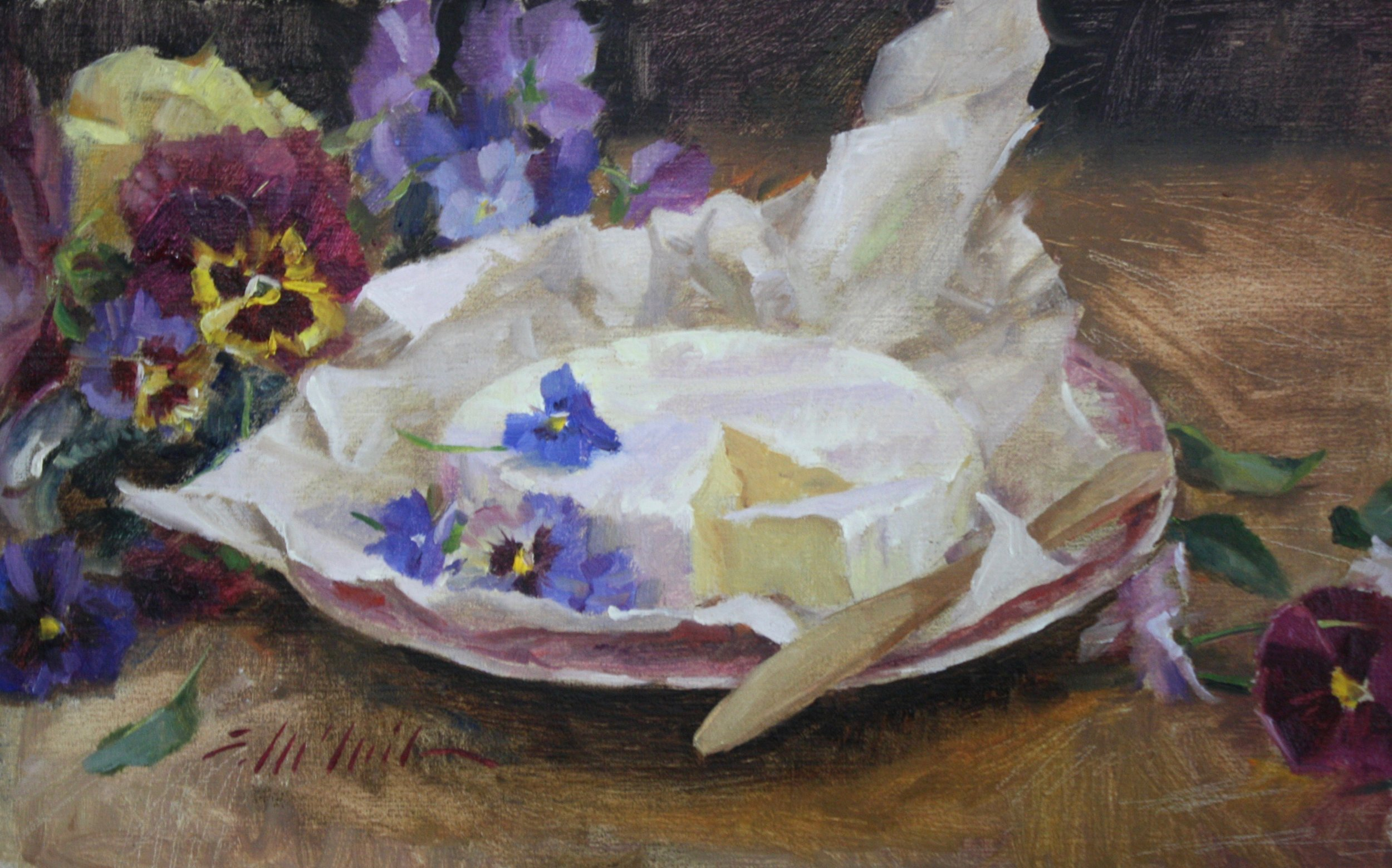 """Brie with Pansies"" 7.5x12 $350"