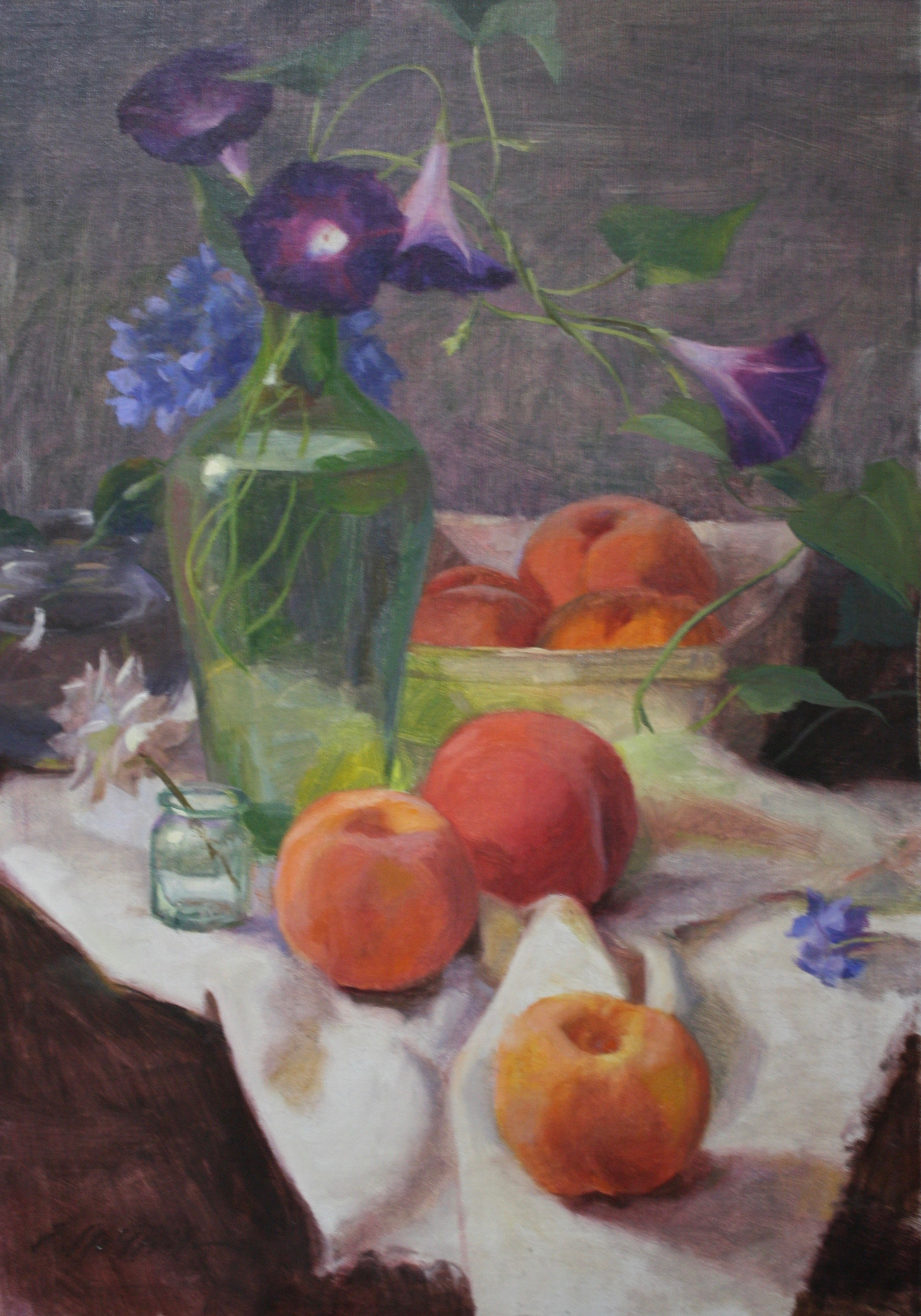 """Morning Glory and Peaches"" 12.5x18 $650"