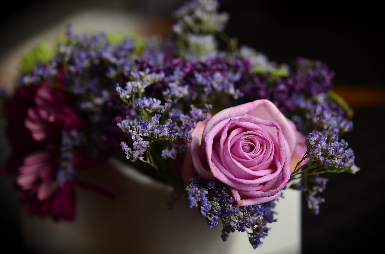 rose and lavender bouquet