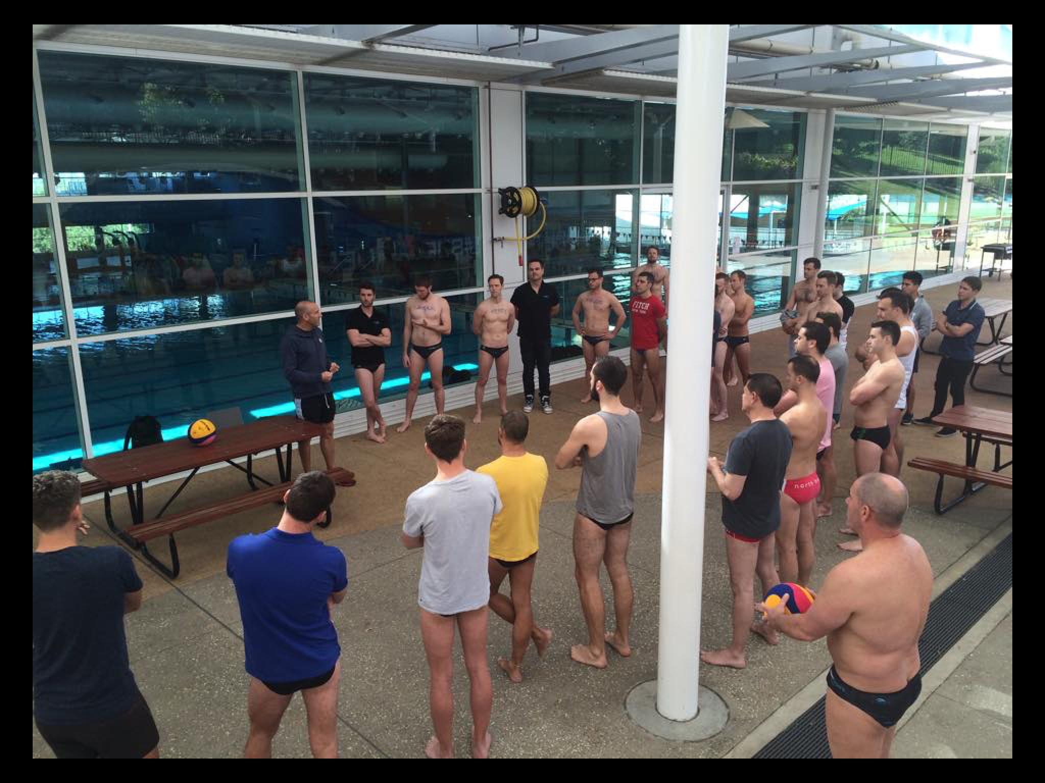 Suns out guns out, Bootcampers get down to their speedos and learn some ball control.