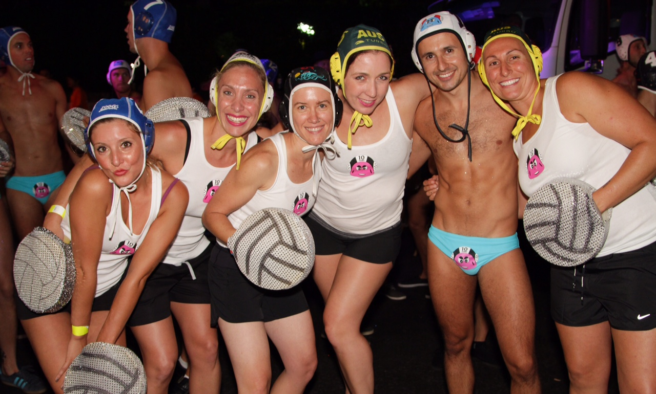 Water polo marchers at the Sydney Mardi Gras Parade. Image: Bryan O'Donovan.