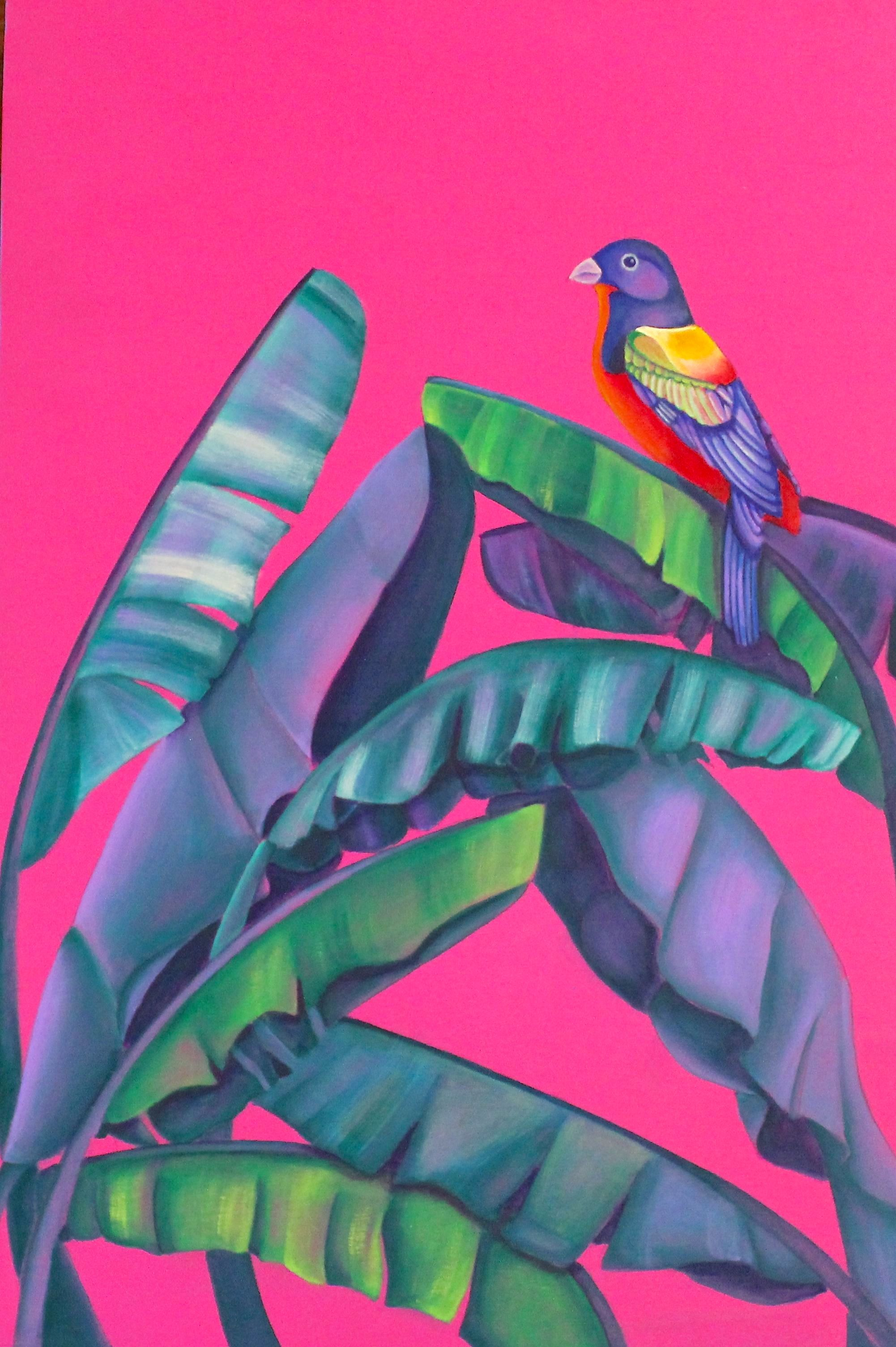 Painted Bunting and Banana Leaf.jpg