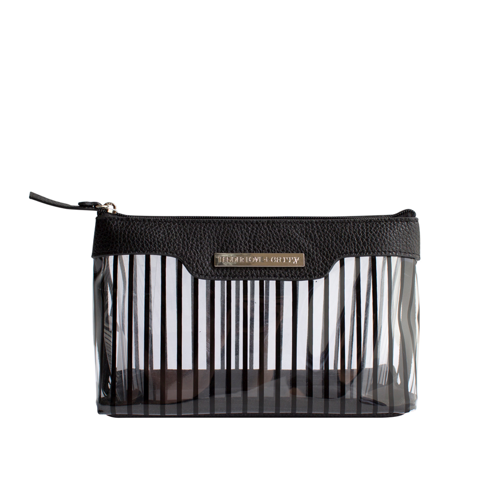 Crystal Stripe Basic Pouch - Black - Code: T-191CS