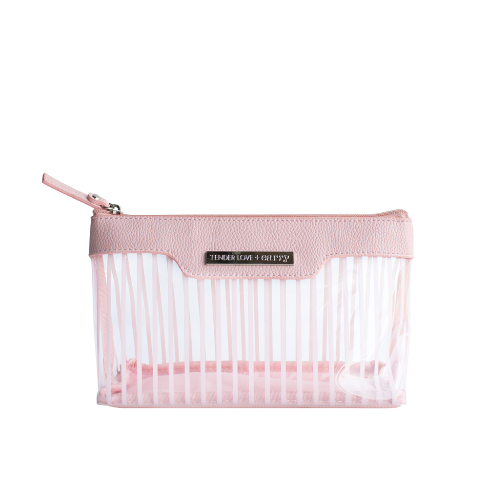 Crystal Stripe Basic Pouch - Blush - Code: T-191CBU