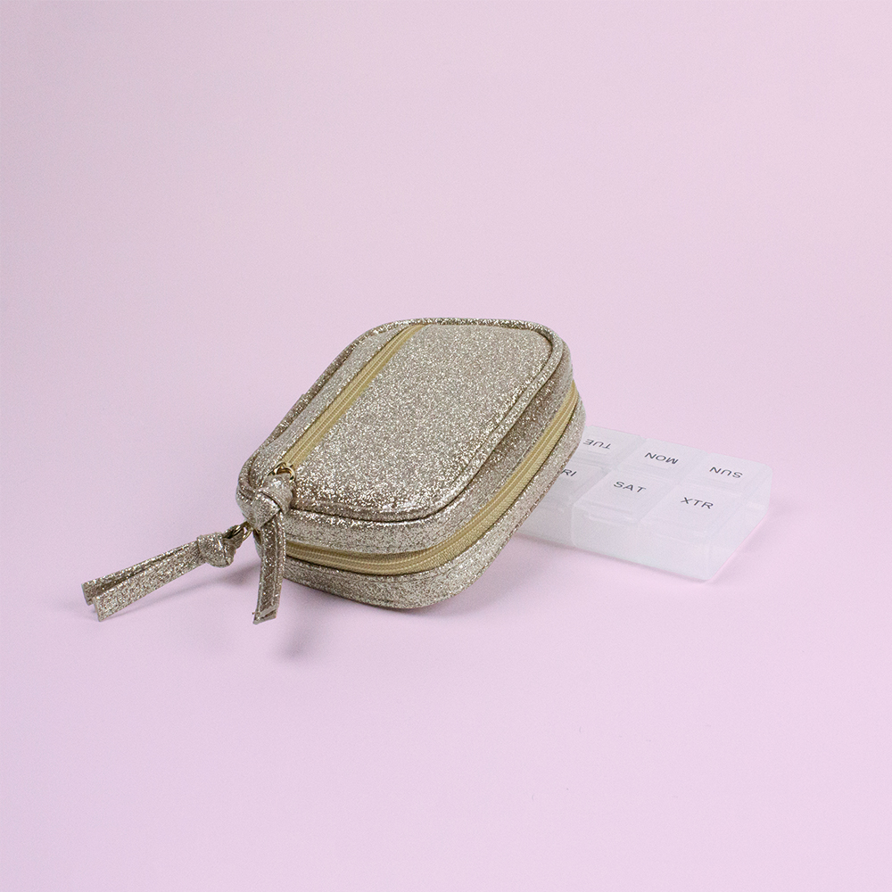 Laminated Glitter Pill Pouch - Code: T-245LG