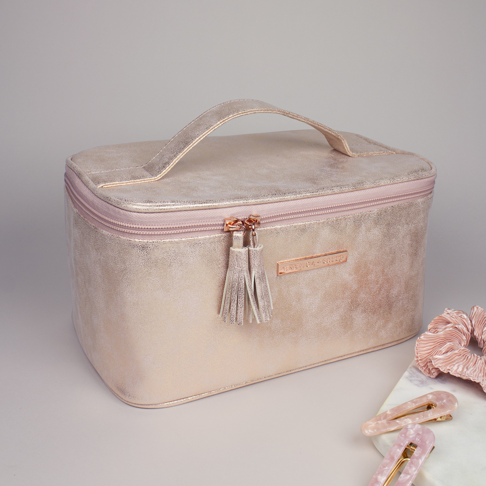 Metallic Suede Vanity Box - Rose Gold - T-240SUR