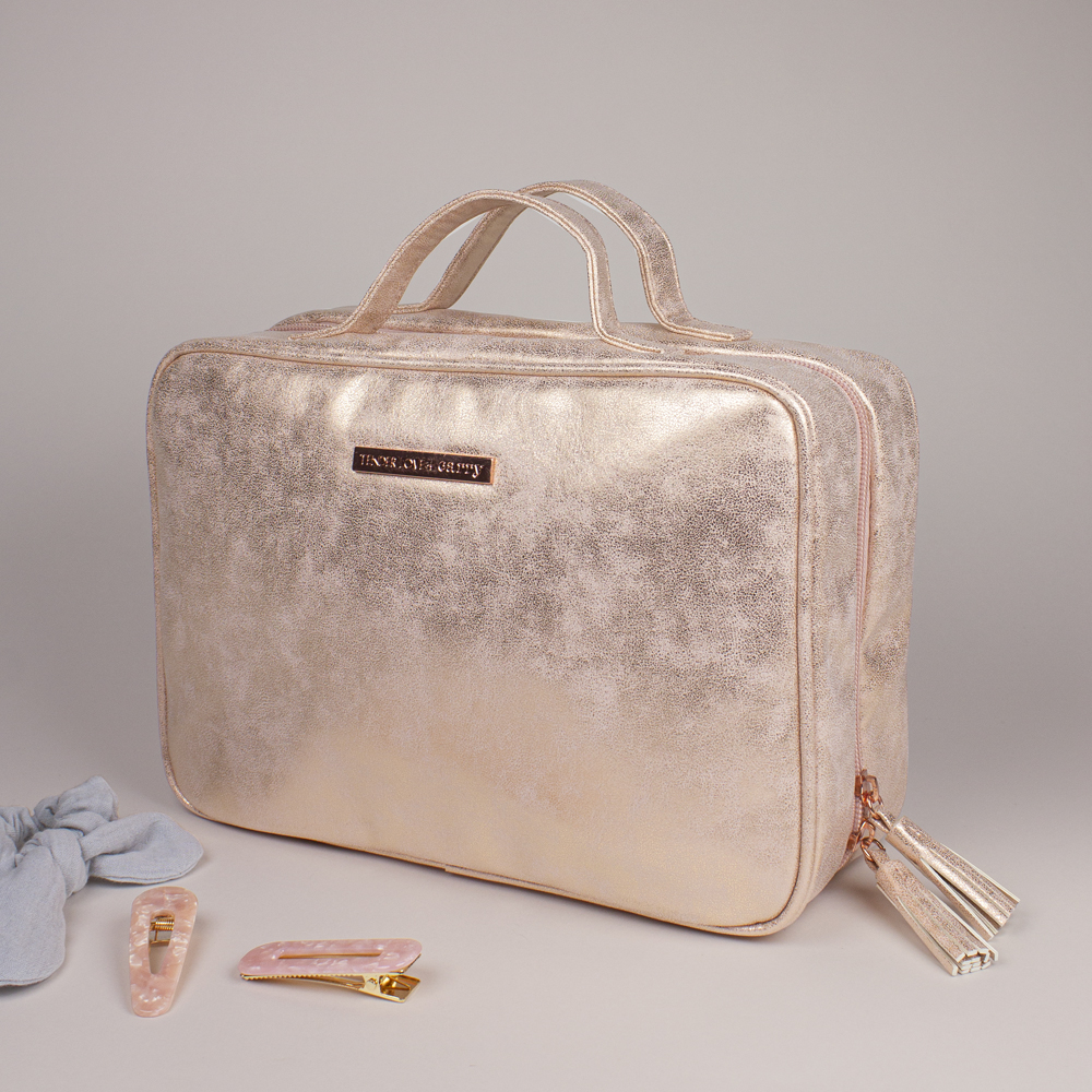 Metallic Suede Hanging Washbag - Rose Gold - T-160SUR