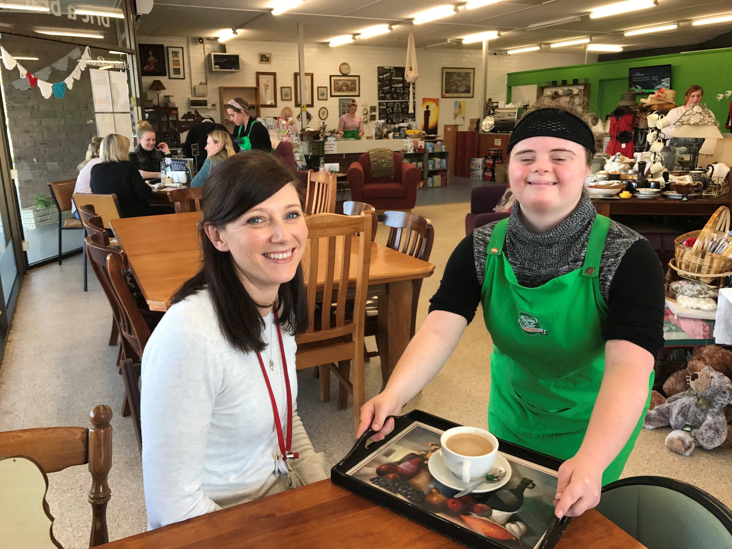 Tayla and Emma at the Murray River Tea Rooms, Moama