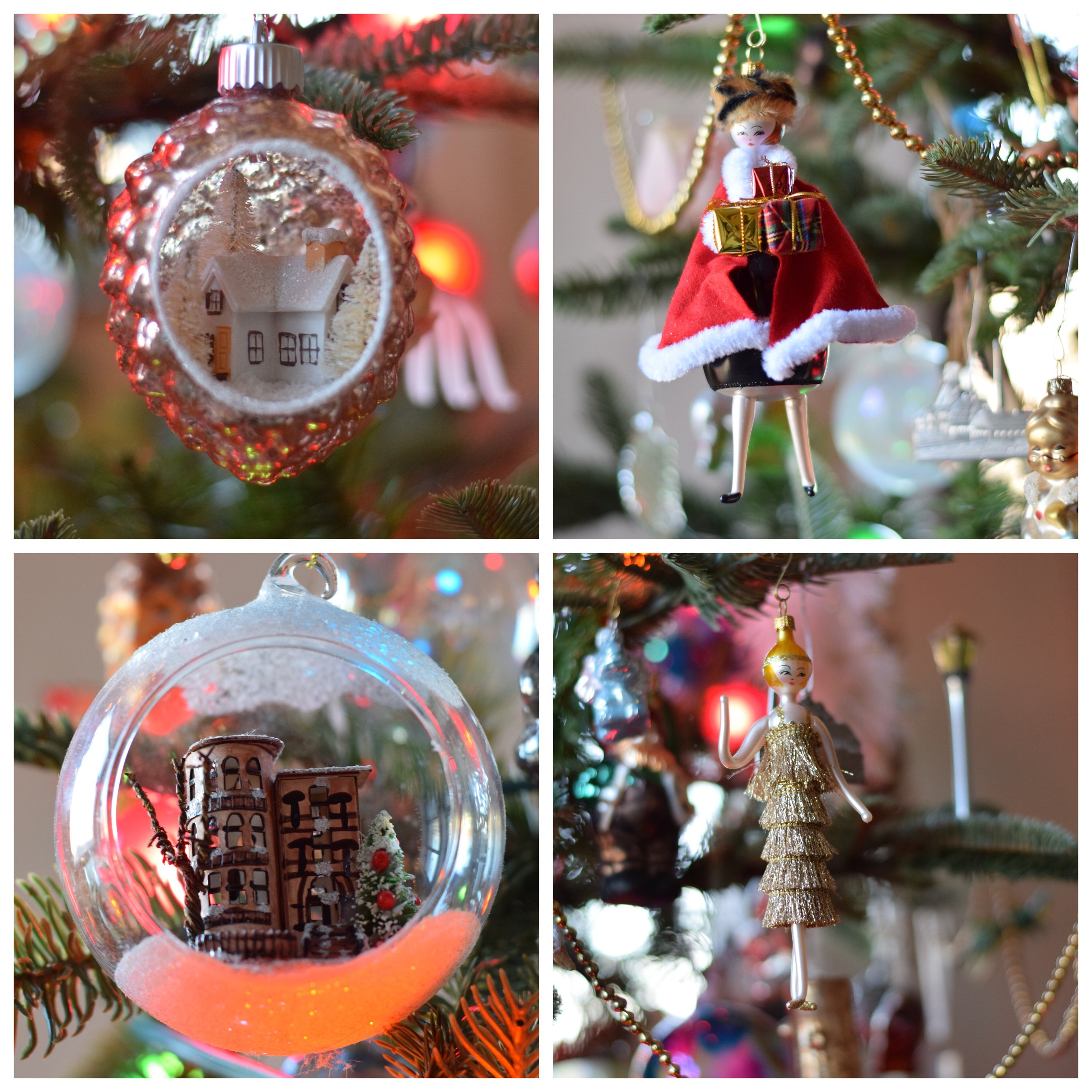 Which one of these ornament is your favorite -winter wonderland house, brownstones, lady in red cap with gifts or lady in flapper? Hard to pick isn't it?