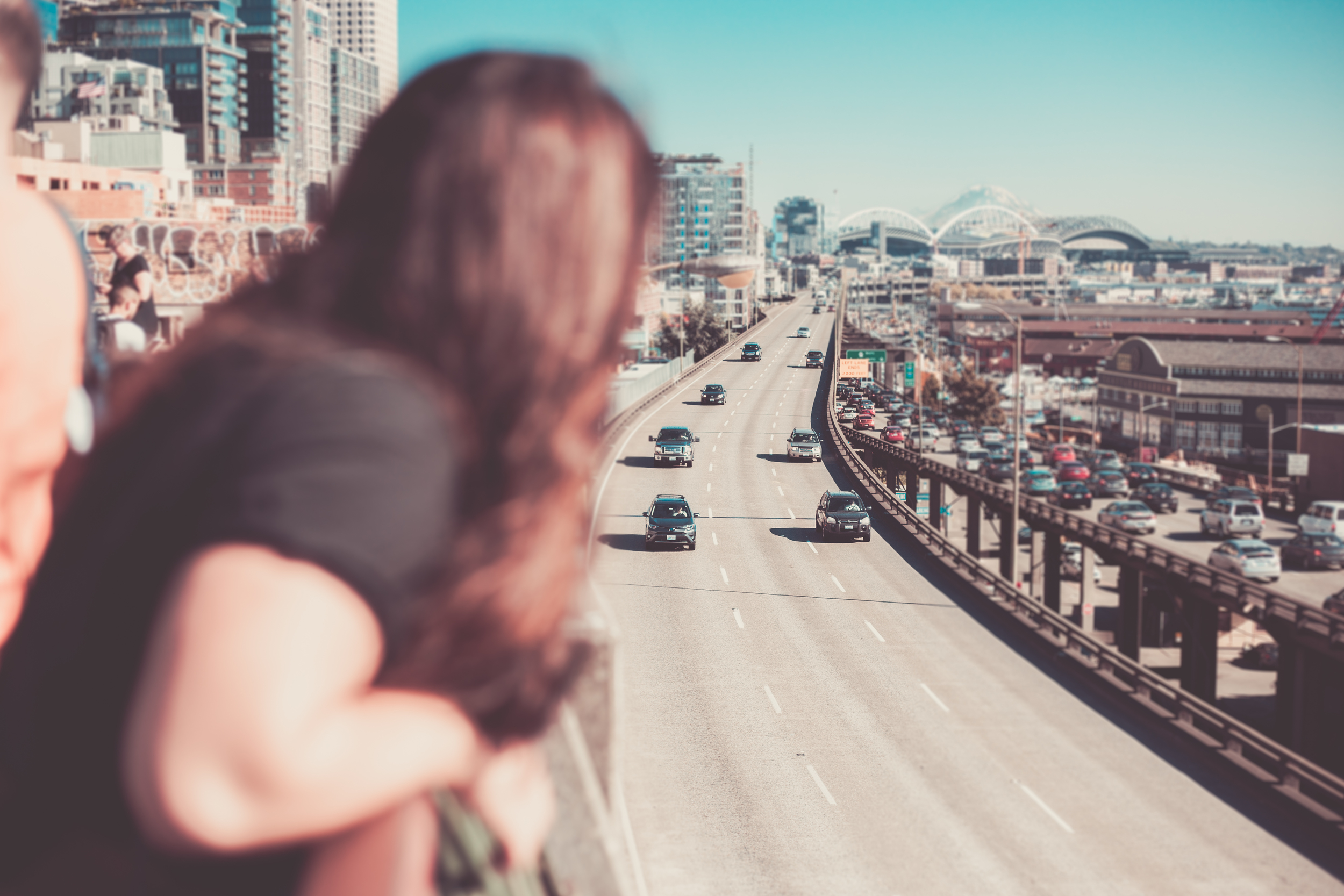 A lil' bit artsy. I wanted to focus in on the freeway and city. You can even spot Mt.Rainer way in the distance!
