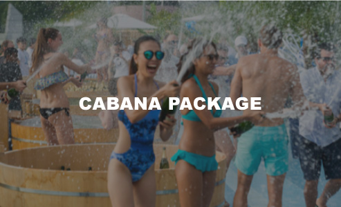 CABANA PACKAGE     $8,980  large cabana for 6 guests     access to japanese bath, outdoor showers, beach towel, and cabana locker room three bottles of dom perignon champagne (750ml), or absolut elyx vodka (700ml), or beefeather 24 gin (700ml), or chivas regal 12yo whiskey (700ml),    or 3 buckets of 12 bottles of asahi beer (330ml each) or 3 buckets of 12 soft drinks (330ml each)
