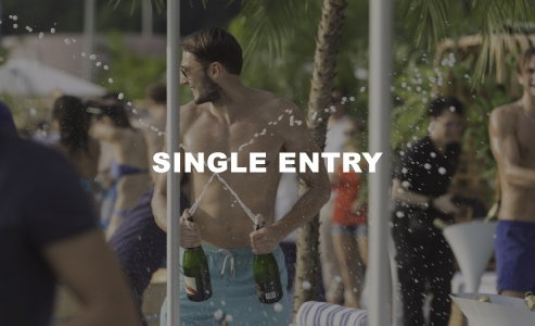 SINGLE ENTRY     $620  (early bird)  $720  (at the door)  access to japanese bath, sunlounger at first-come, first-served basis, outdoor showers, beach towel    one bottle of g.h. mumm cordon rouge champagne (750ml), or chateau paradis essenciel 2016 (white, red, rose),    or 1 bucket of 6 bottles of asahi (330ml each), or 1 bucket of 6 soft drinks (330ml each)
