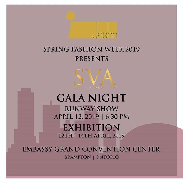 SVA X JASHN (Toronto)  #SVATRAVELS to Toronto for @jashn.ca Runway presentation for Gala night on  12th April. Exhibition- 12th-14th April.  #sva #svacouture #svatravels #jashn #toronto #canada #galanight #exhibition #runway #springfashionweek #spring #Tara #ss19