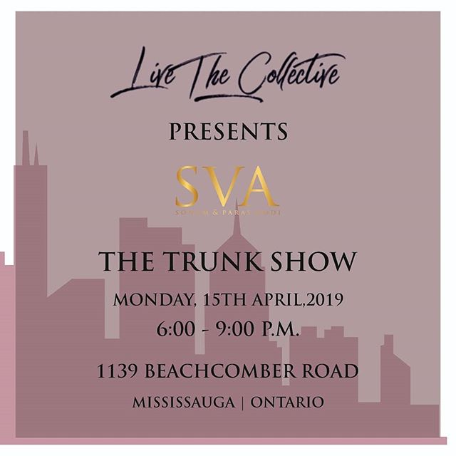 SVA X LIVE THE COLLECTIVE (Toronto)  #SVATRAVELS to Toronto for @livethecollective Trunk show on  15th April.  #sva #svacouture #svatravels #livethecollective #toronto #canada #trunkshow #Tara #ss19