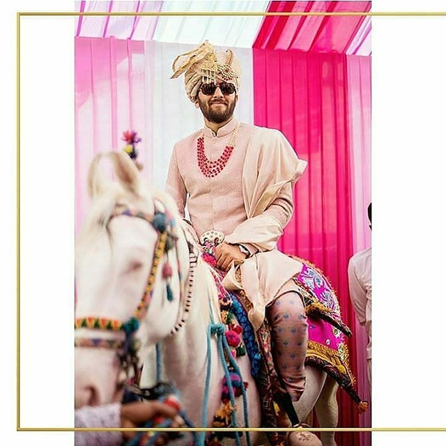 SVA Groom Viraag.. wears an old rose threadwork quilted sherwani with floral printed pants for his wedding.  #sva #svacouture #svagroom #dahlia #sherwani #weddings #indiantradition #indiangroom #couture