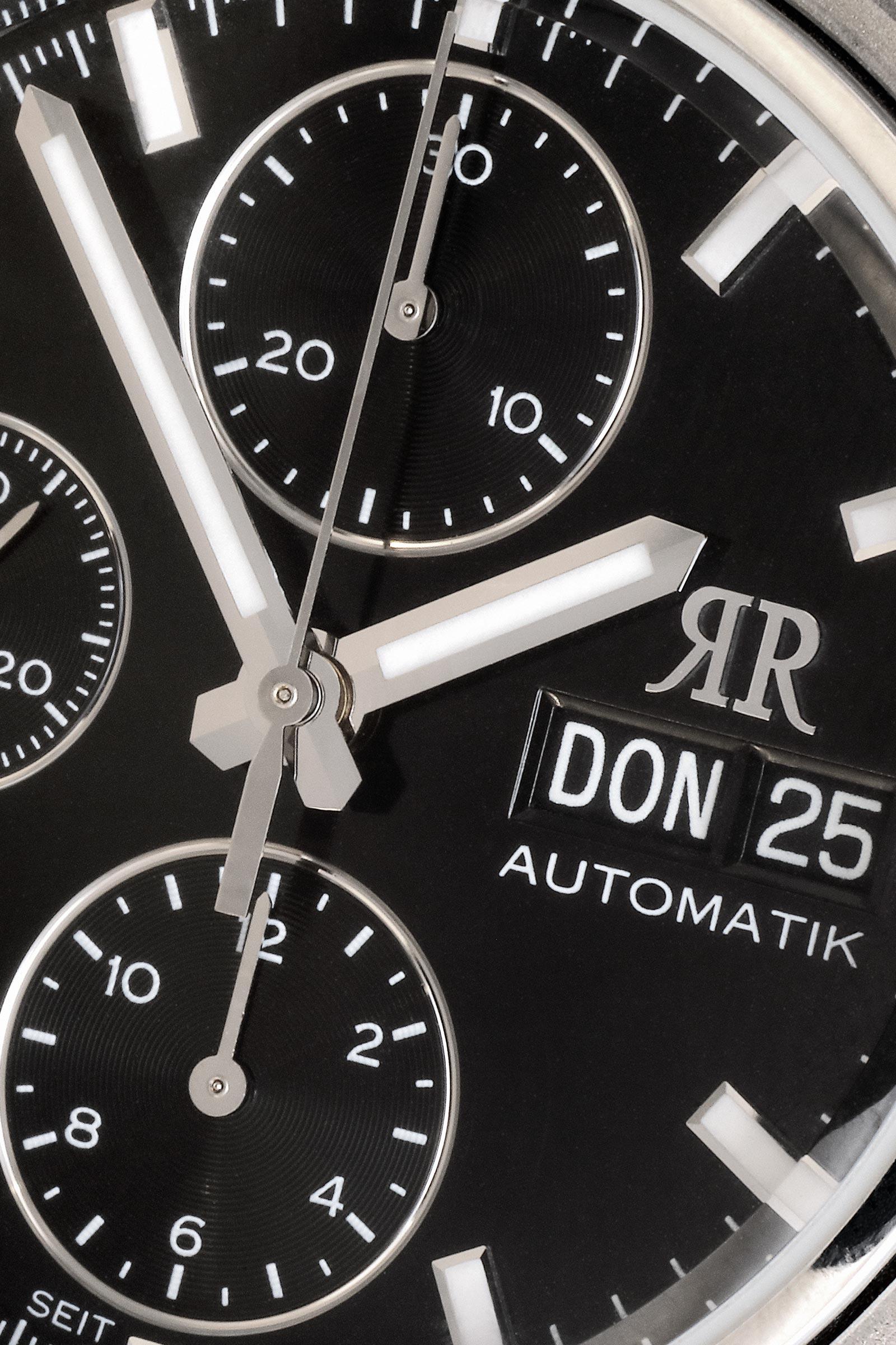 Ein Chronograph der Superlative - Unser automatischer MAX II Chronograph mit hochwertigem Schweizer Uhrwerk bietet Ihnen als Zusatzfunktionen die Anzeige von Tag und Datum.