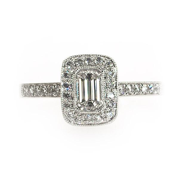 Monroe Emerald Shape Vintage Solitaire Ring