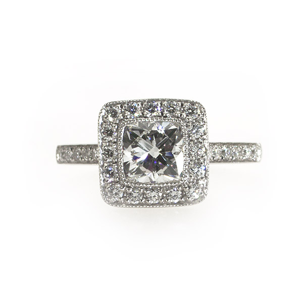 Munroe Cushion Shape Vintage Solitaire Ring