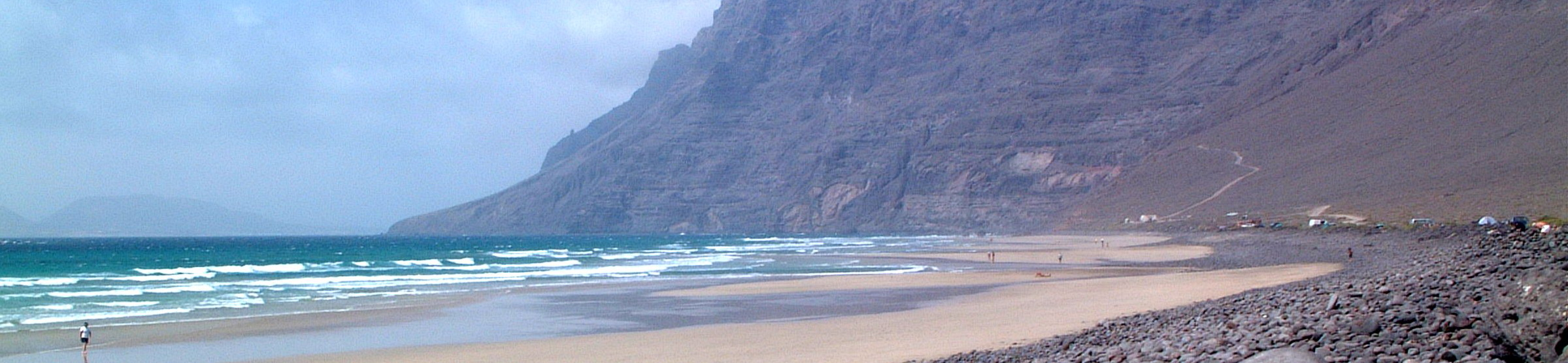 Famara beach, a short walk from the apartment
