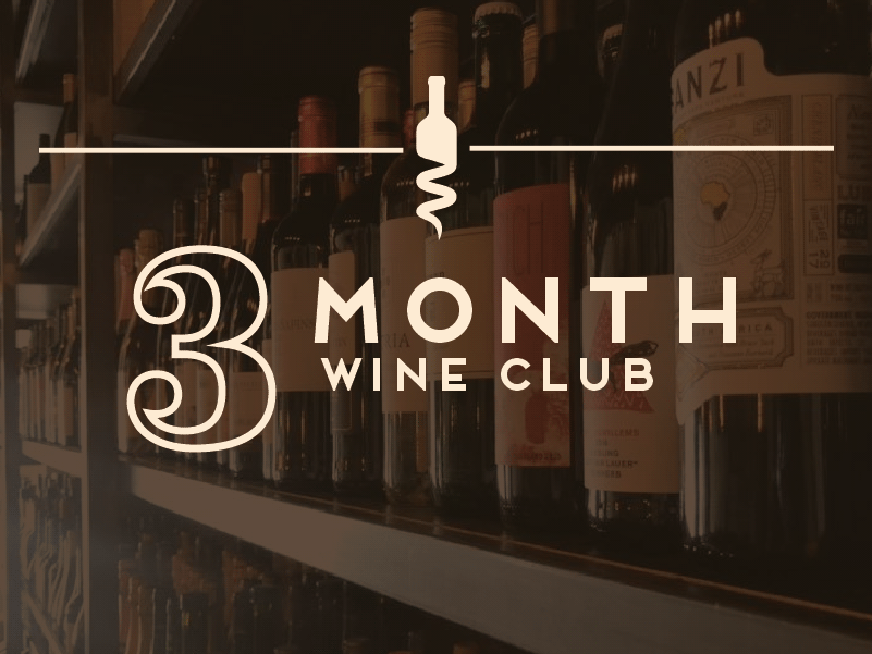 3 Month Club - $120/One-time feeGreat option for gifting!Two bottles of wine per monthComplimentary seating for (2) at an exclusive quarterly wine tasting event.Exclusive promotions such as wine education newsletters, limited bottle offerings, and other special events and incentives.