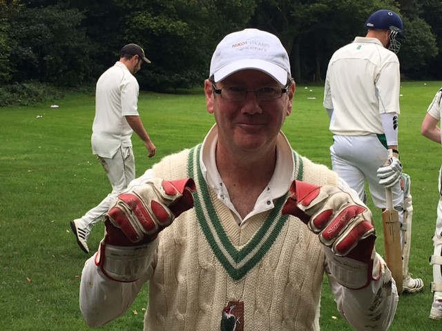 Here is Aussie (r)Andy Roberts (not to be confused the well hung West Indian bowler of the same name). He kept decently in his first game for Ages and is looking forward to playing the International Peckers -A lurching Bertie and BFG in the background