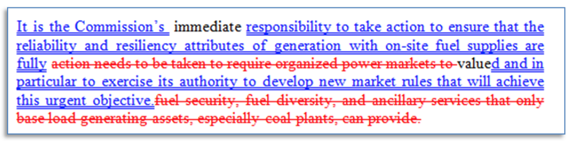 """Bob Murray's attempt to show that """"no connection exists"""" between his coal plan and the DOE NOPR. Credit: Murray Energy comments"""