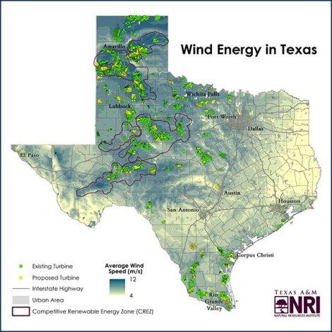 Wind turbine locations in Texas    Matt Crawford, Texas A&M Natural Resources Institute