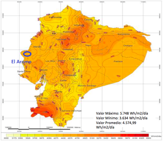 Solar radiation map of Ecuador. Source: Ecuador Ministry of Energy