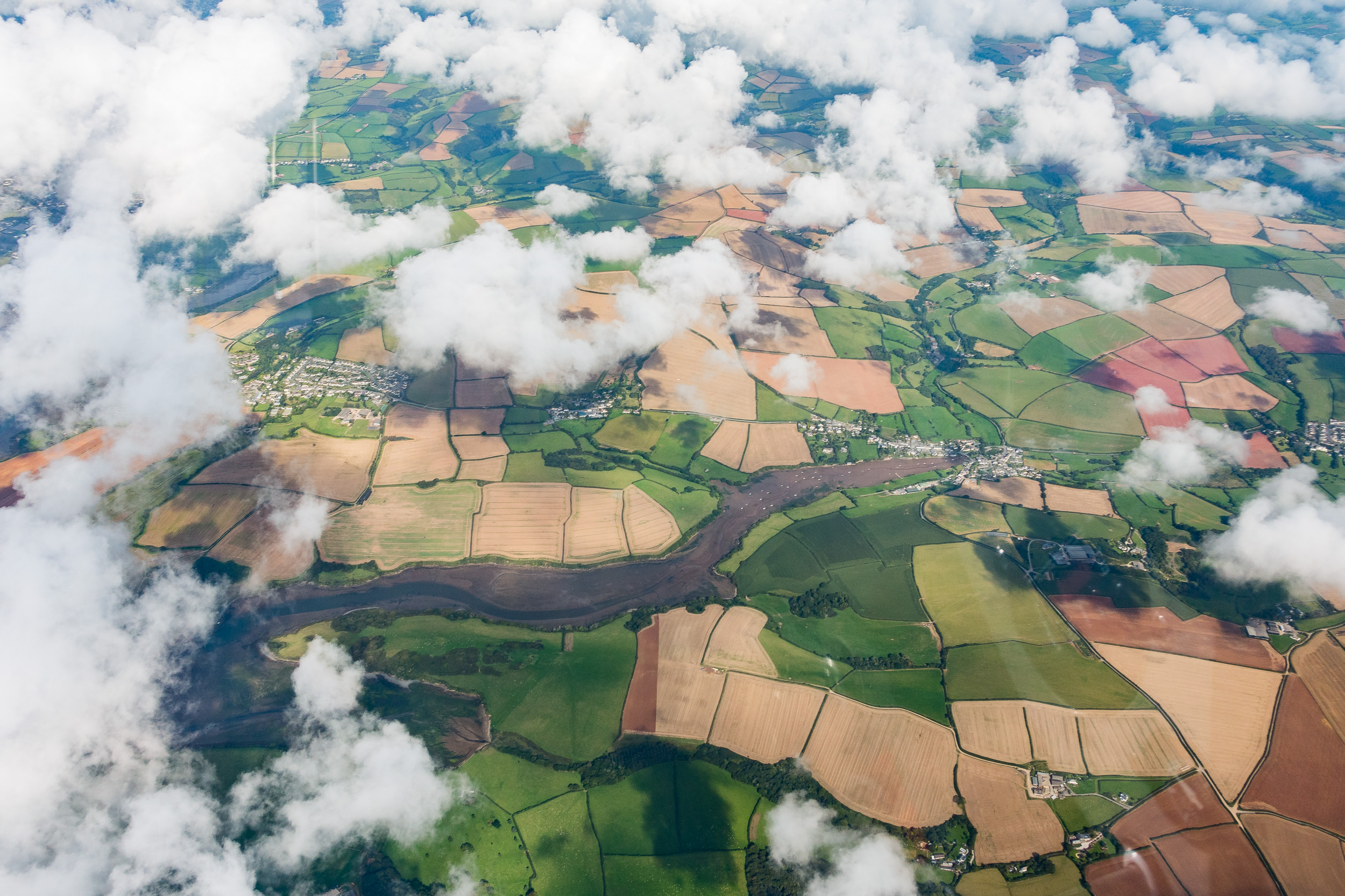A unique view of the patchwork of fields in Devon.