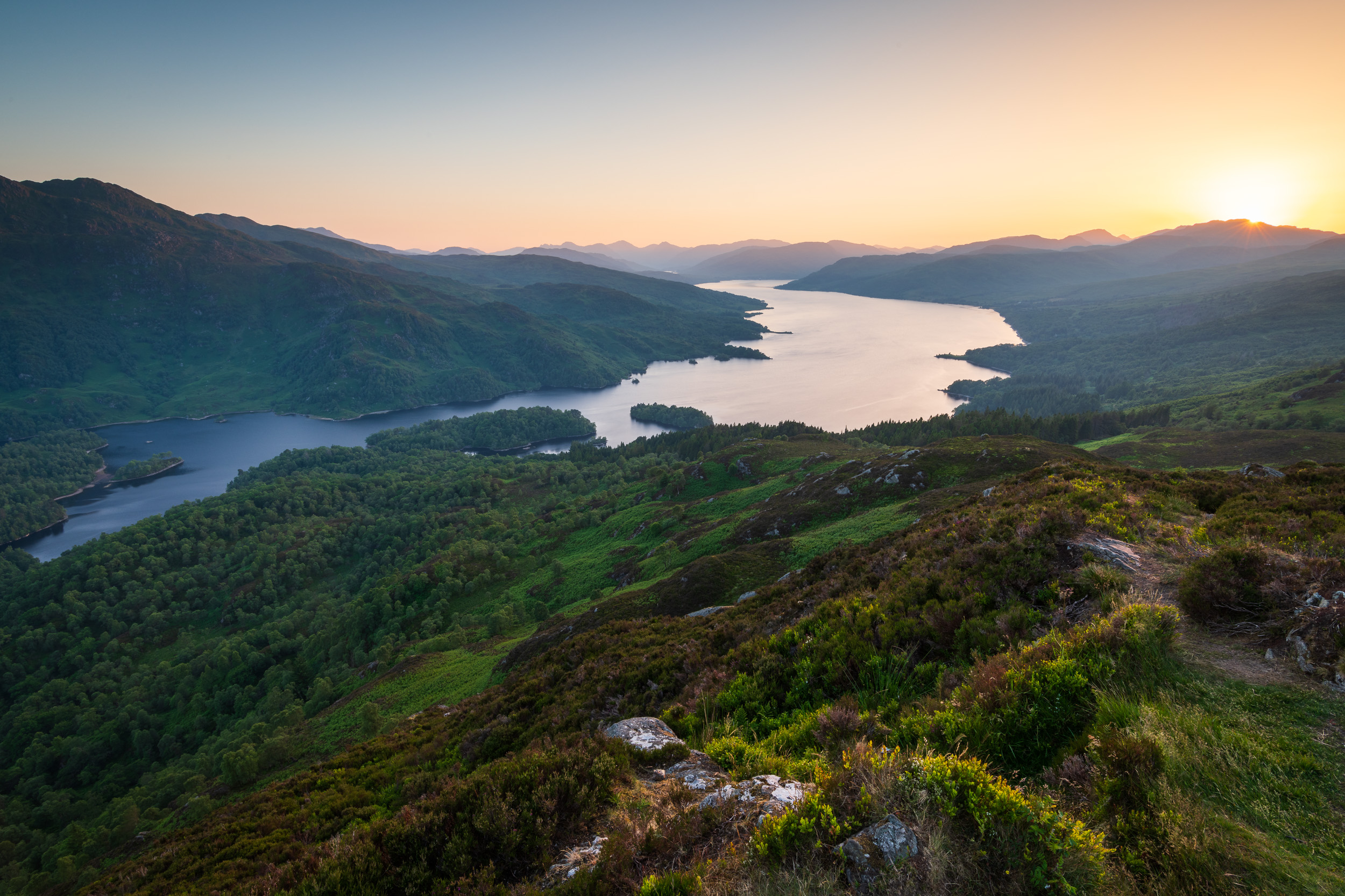 A Summer Sunset At Ben A'an and Loch Katrine   - Loch Lomond and The Trossachs National Park::  Nikon D850, Nikkor 16-35 mm f/4 at 18 mm, 0.5 sec at ISO 64, f/18, Lee Filters 2 Stop ND Grad.
