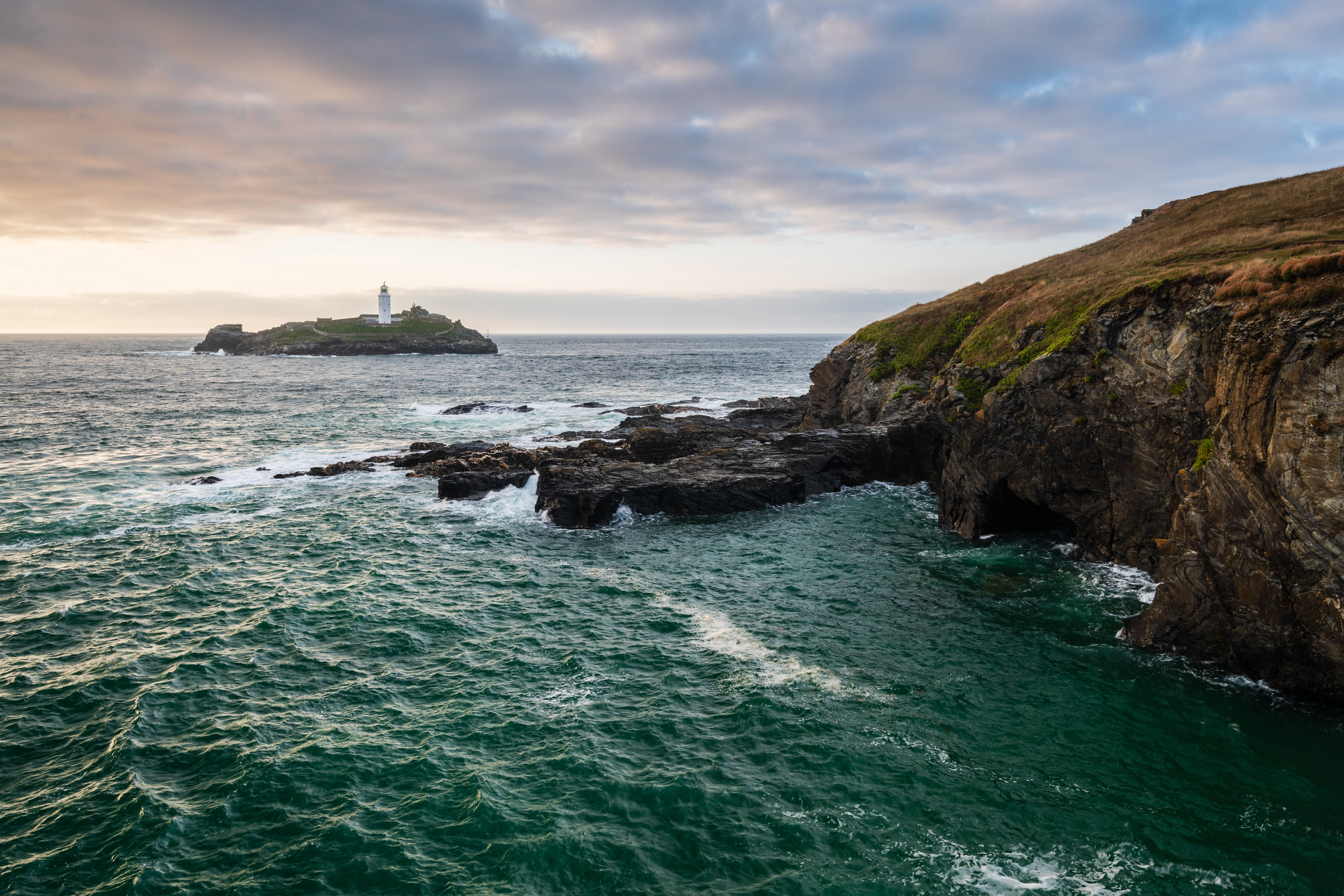 Godrevy Lighthouse from the South West Coast Path, Cornwall  - Nikon D850, Nikkor 16-35 mm f/4 at 25 mm, f/11, 1/10th sec @ ISO 64, Lee Filters Landscape Polariser and 2 stop ND Grad.