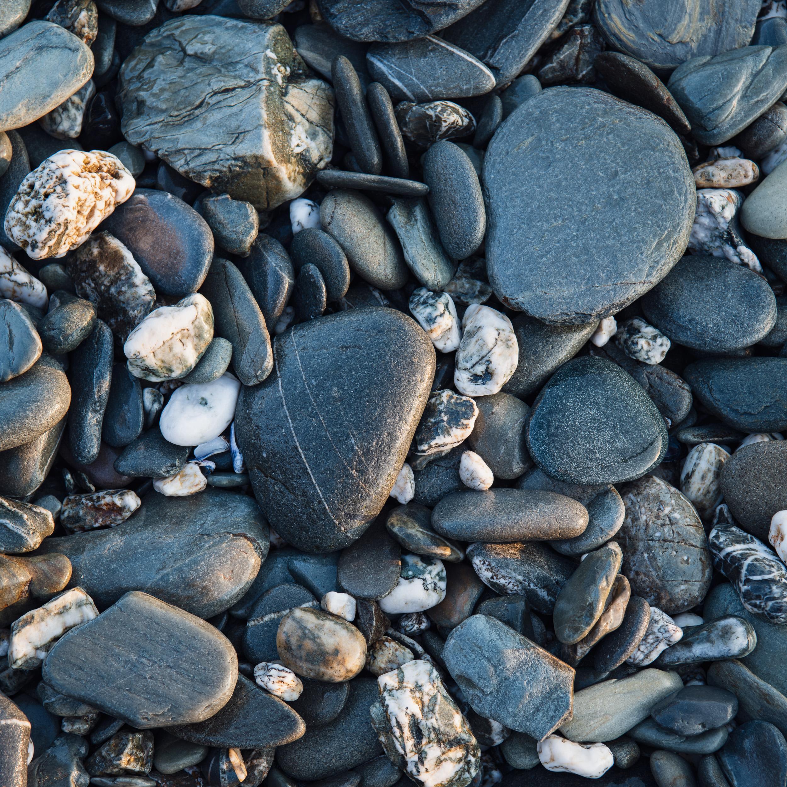 Godrevy Point Beach Stones (Godrevy Cove), Cornwall  - Nikon D850, Nikkor 24-70 mm f/2.8 VR at 70 mm, f/8, 1/4th sec @ ISO 64, Lee Filters Landscape Polariser.