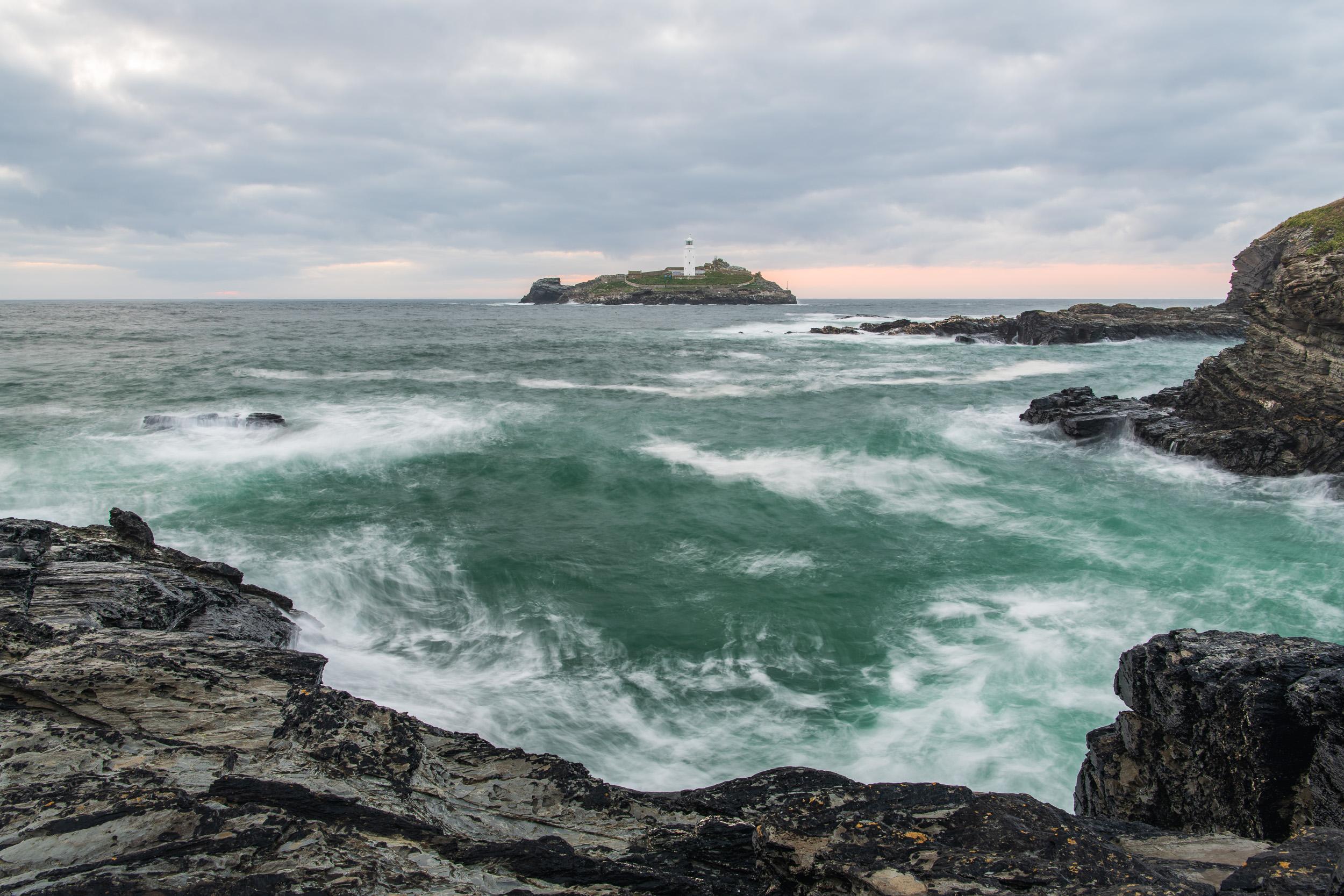 Dusk at Godrevy Lighthouse, Cornwall  - Nikon D850, Nikkor 24-70 mm f/2.8 VR at 27 mm, f/13, 1.3 sec @ ISO 64, Lee Filters Landscape Polariser.