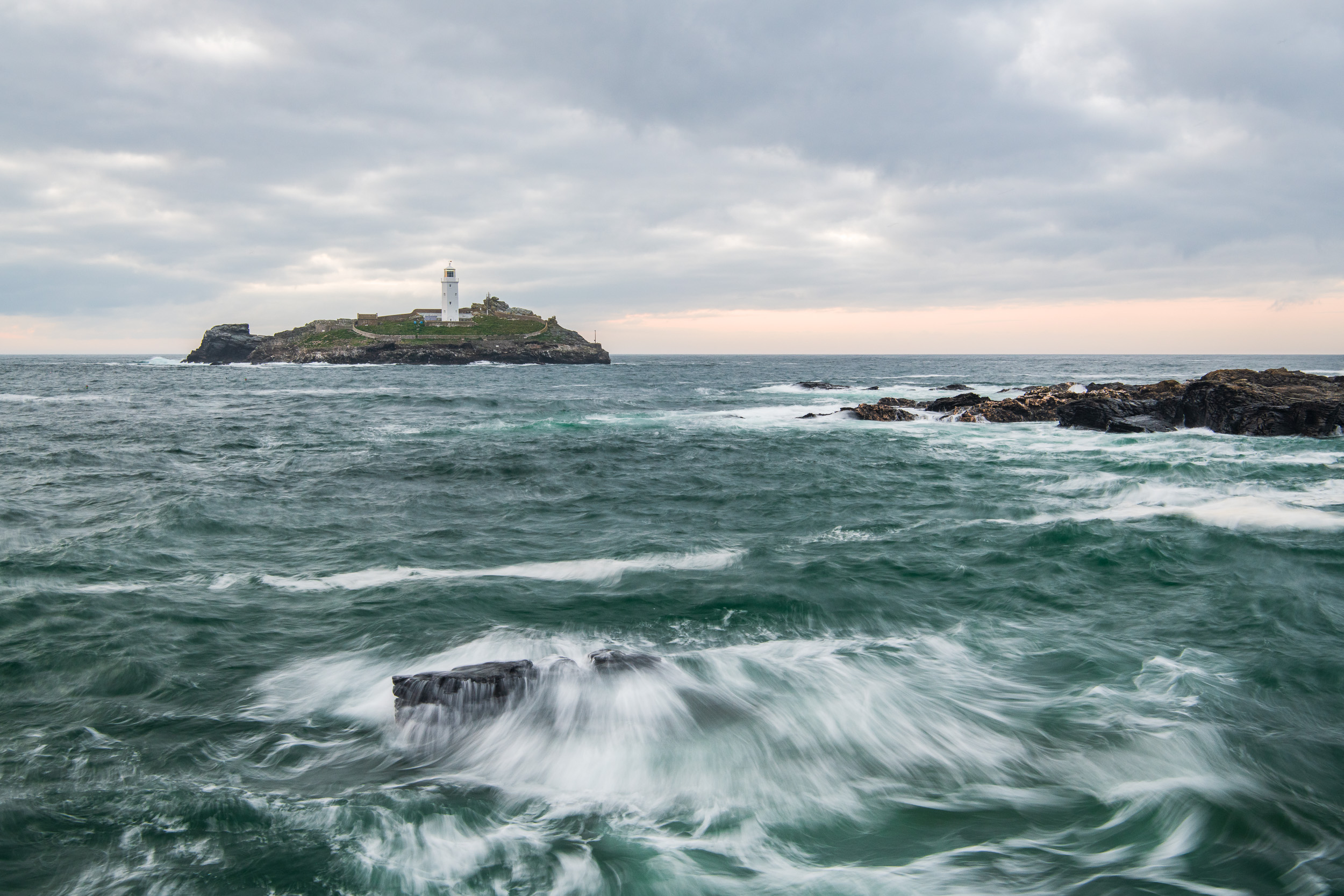 Godrevy Lighthouse from Godrevy Point, Cornwall  - Nikon D850, Nikkor 24-70 mm f/2.8 VR at 38 mm, f/13, 0.5 sec @ ISO 400, Lee Filters Landscape Polariser.