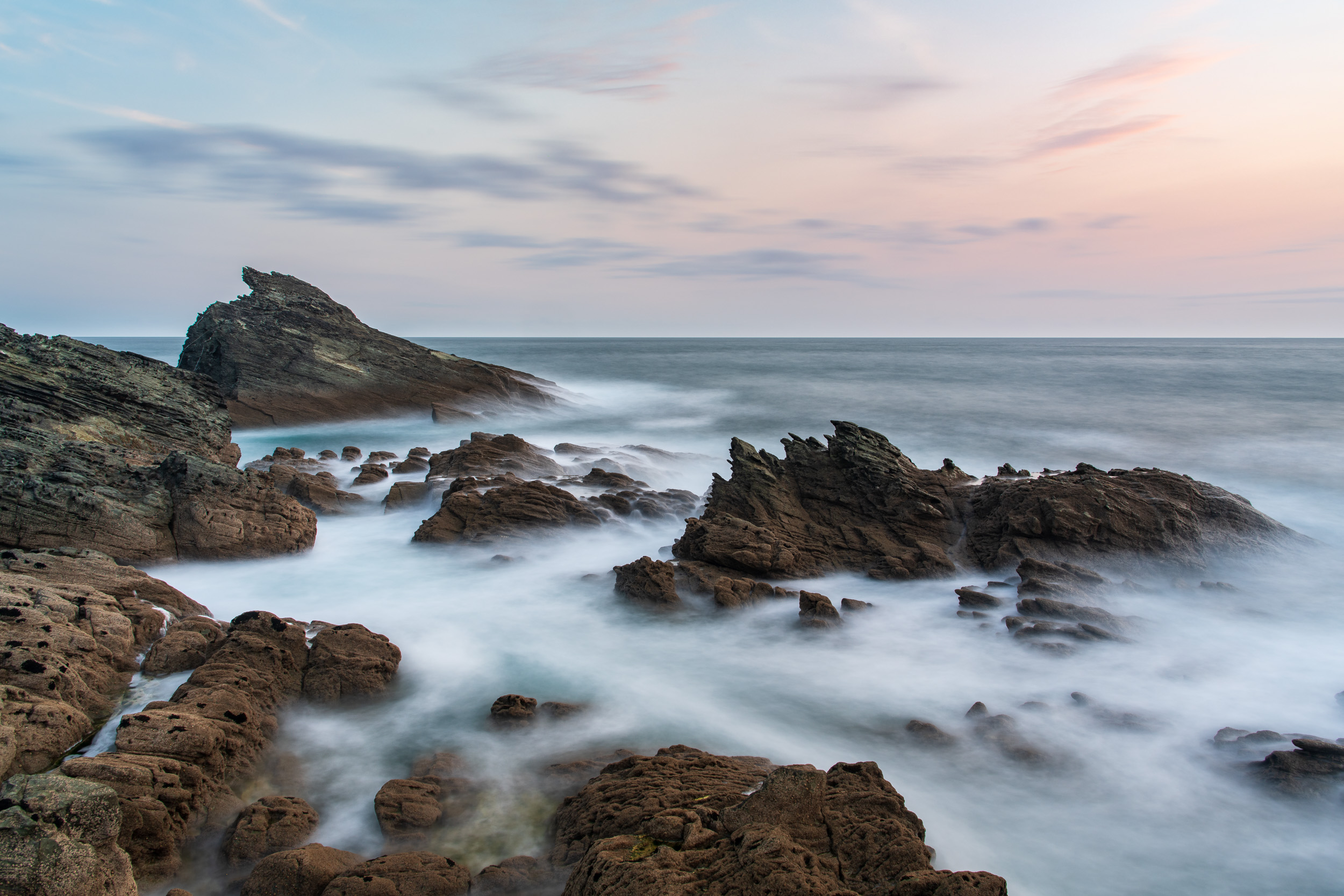 The Rocks at Gammon Head #3, Devon  - Nikon D850, Nikkor 24-70 mm f/2.8 VR at 24 mm, 30 seconds at ISO 64, f/13, Lee Filters Circular Polariser and 6 Stop IR ND.