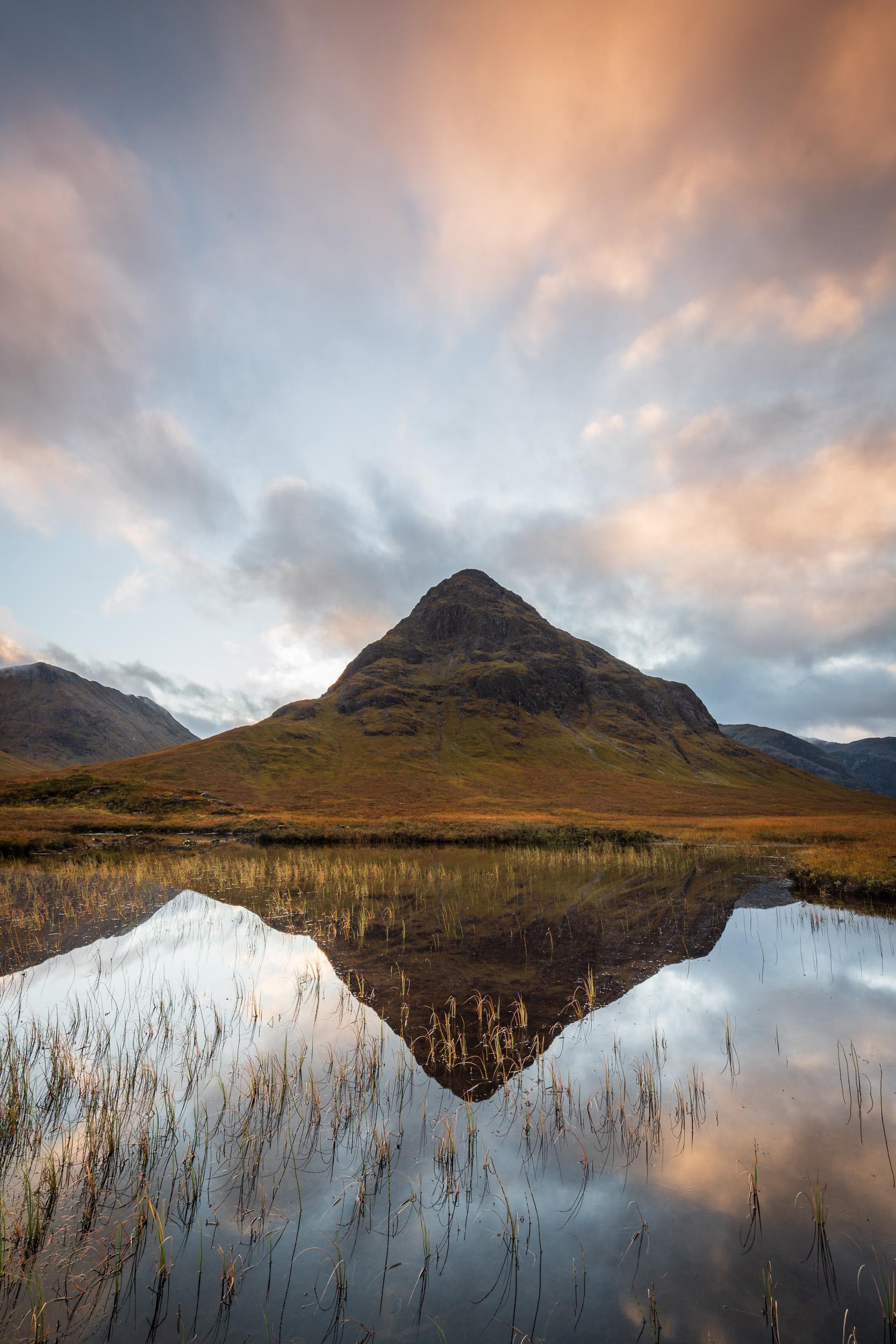 Stob nan Cabar from Lochan na Fola (Vertical), Glencoe, Scotland  - Nikon D850, Nikkor 16-35 mm f/4 at 16 mm, 0.8 seconds at ISO 64, f/13, Lee Filters Circular Polariser, ND Grad.