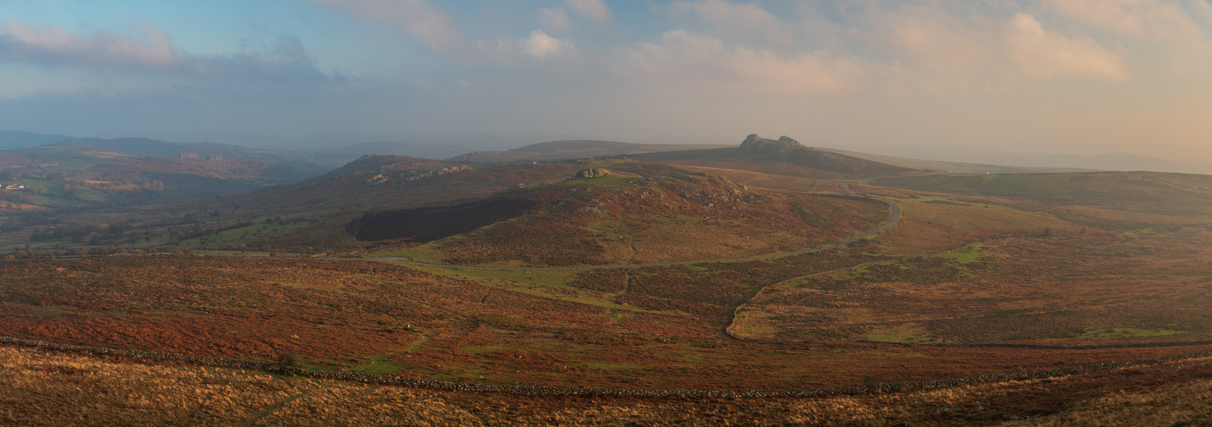 The View from Rippon Tor (Panorama), Dartmoor, Devon  - Nikon D850, Nikkor 24-70 mm f/2.8 VR at 52 mm, f/11, 1/10th second at ISO 64, Lee Filters Circular Polariser, 9 image stitch cropped at 6:17.