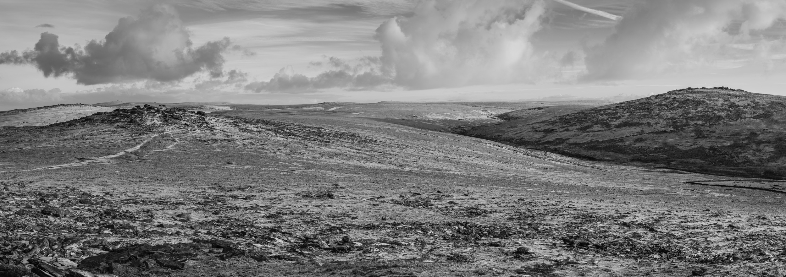Roos Tor and Great Mis Tor Panorama from Great Mis Tor, Dartmoor, Devon  - Nikon D850, Nikkor 24-70 mm f/2.8 VR at 70 mm, f/11, 1/40th sec at ISO 64, 11 stitch panorama.