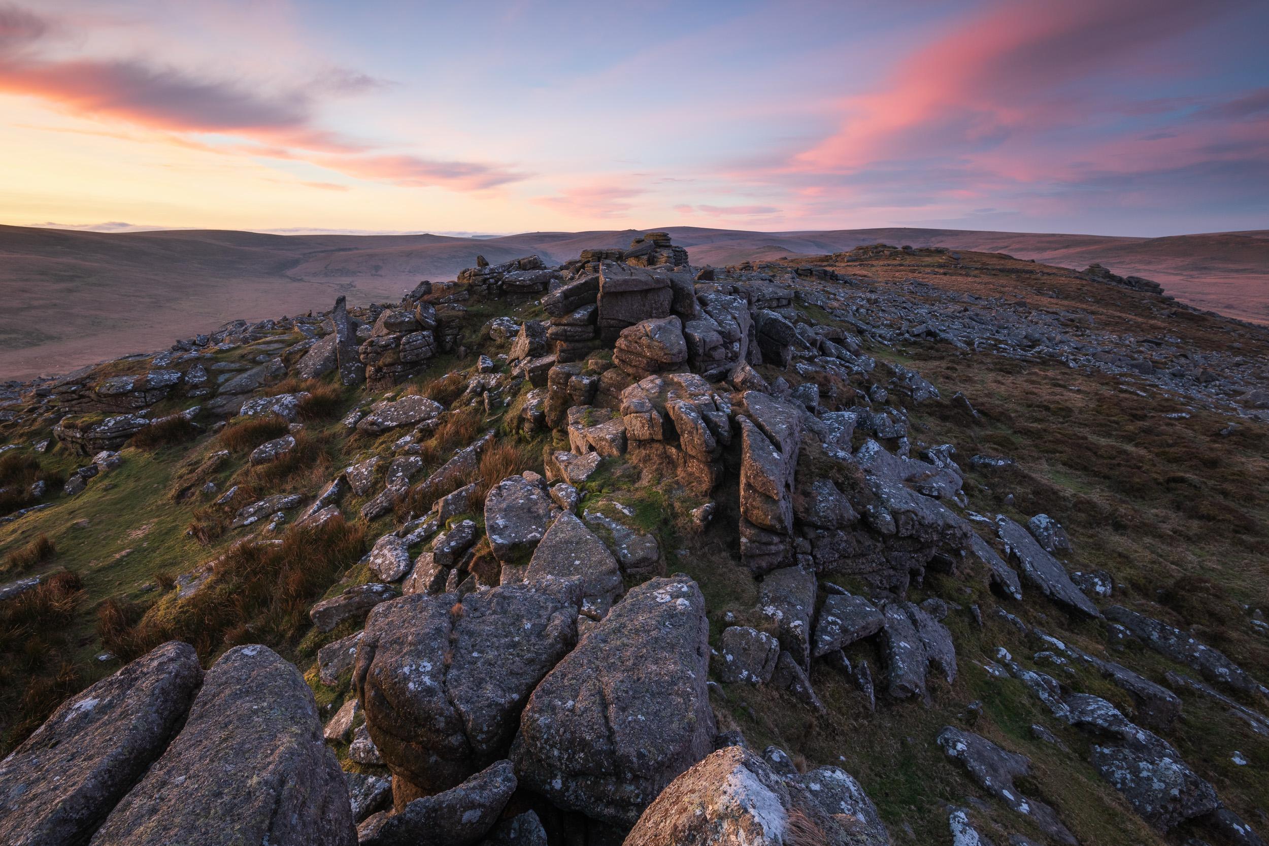 First Light at Belstone, Dartmoor, Devon  - Nikon D850, Nikkor 16-35 mm f/4 @ 16 mm, f/13, 3 secs @ ISO 64.