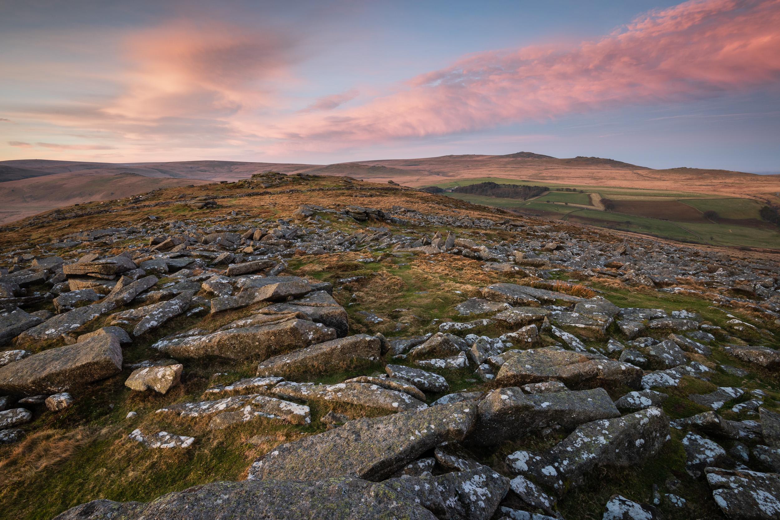 Dawn on Belstone Common, Dartmoor, Devon  - Nikon D850, Nikkor 16-35 mm f/4 @ 16 mm, f/13, 5 secs @ ISO 64.