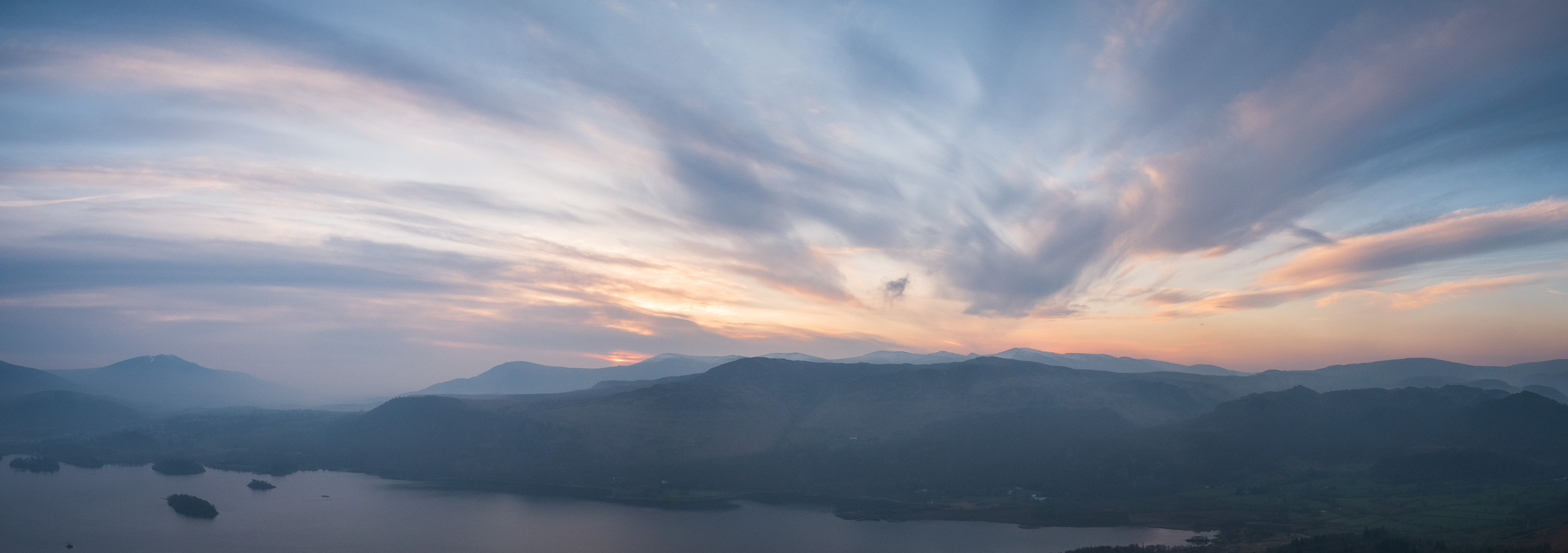 Cat Bells Dawn Panoramic, Lake District  - Panasonic Lumix G80, Lumix 12-60 mm f/3.5-5.6 @ 12mm, f/9.0, 1/60th sec @ ISO 100.