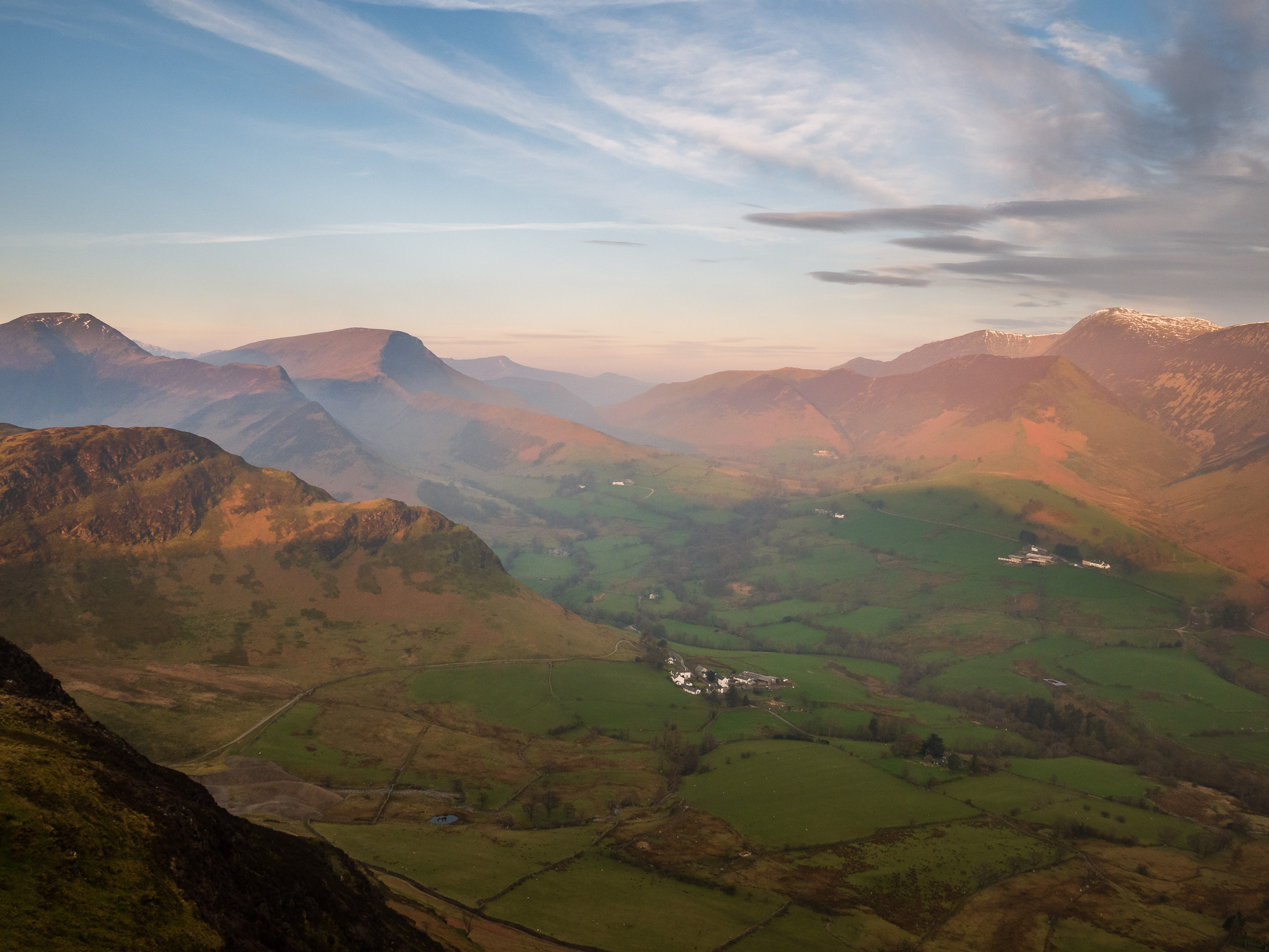 Dawn Crags from Cat Bells, Lake District  - Panasonic Lumix G80, Lumix 12-60 mm f/3.5-5.6 @ 12mm, f/11, 1/50th sec @ ISO 200.