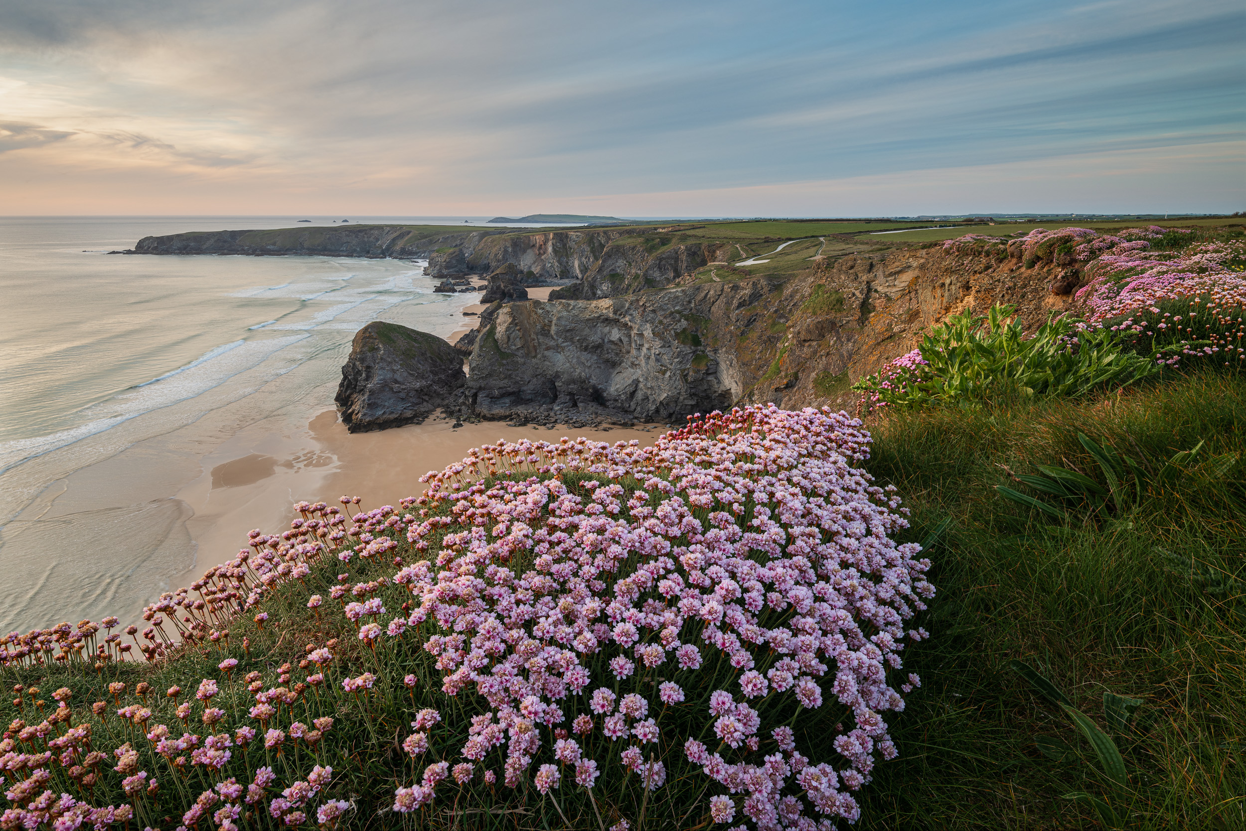 Spring Cliffs at Bedruthan, Bedruthan Steps, Cornwall  - Nikon D850, Nikkor 16-35 mm f/4 at 22 mm, f/11, 1/2 sec at ISO 64, Kase CPL and ND grad.