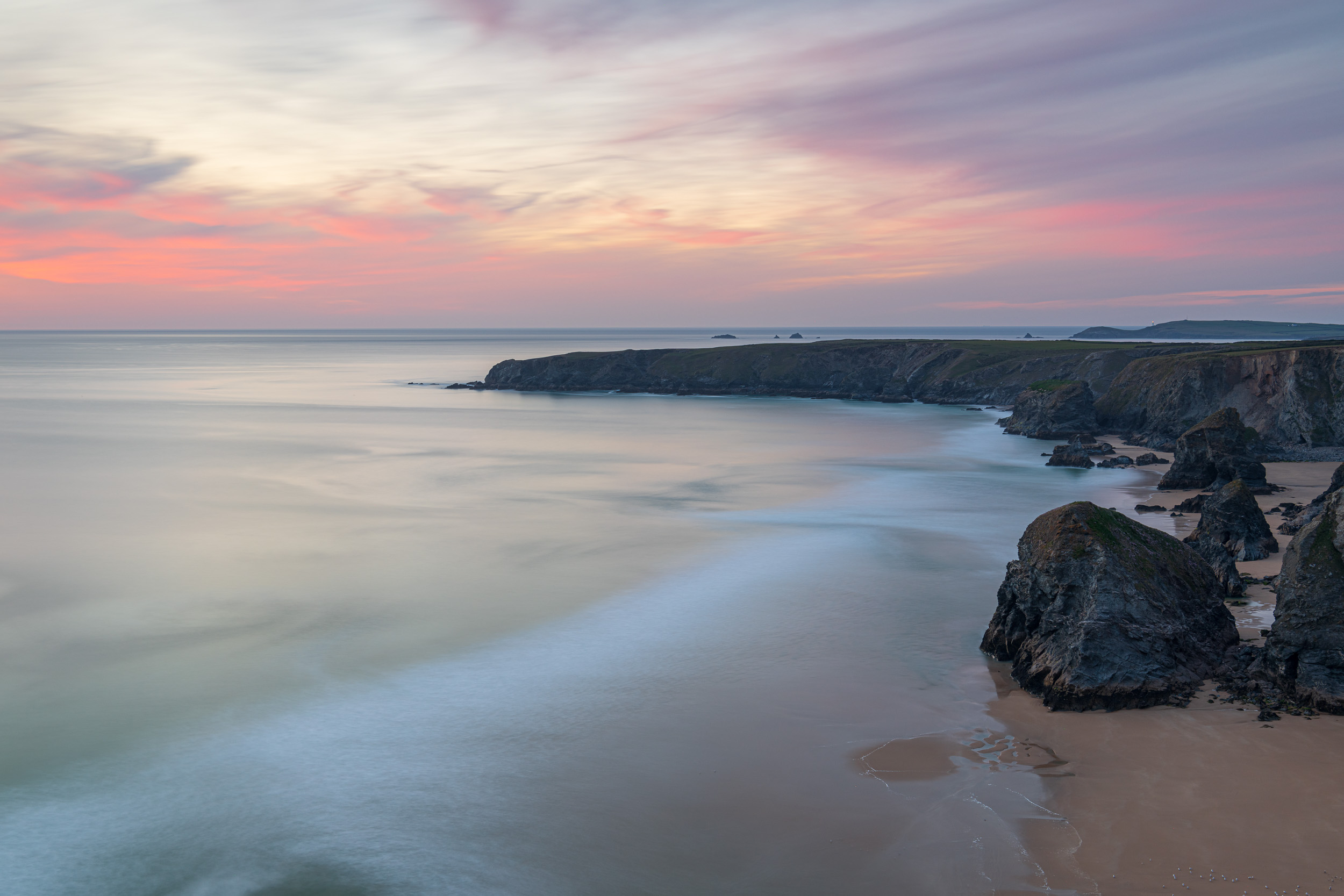 Last Light at Bedruthan, Bedruthan Steps, Cornwall  - Nikon D850, Nikkor 24-70 mm f/2.8 at 42 mm, f/8, 136 sec at ISO 64, Kase CPL, ND and ND grad.