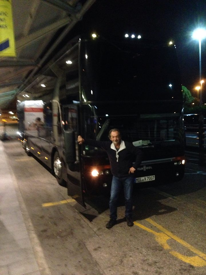 Mike with his bus at the Verona, Italy airport dropping us off from our last bus ride with him on this tour.